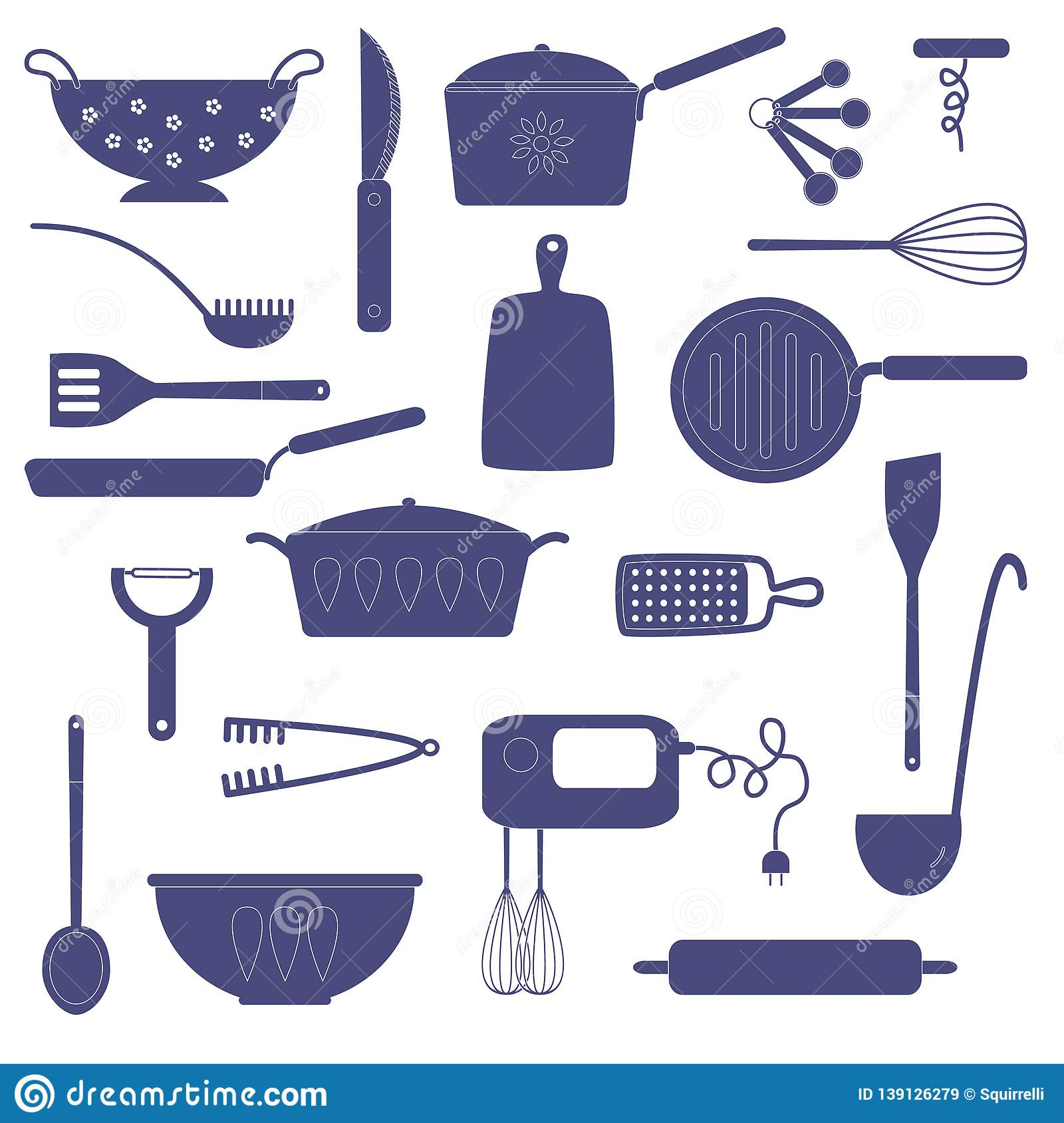 Kitchen utensils and equipment for cooking
