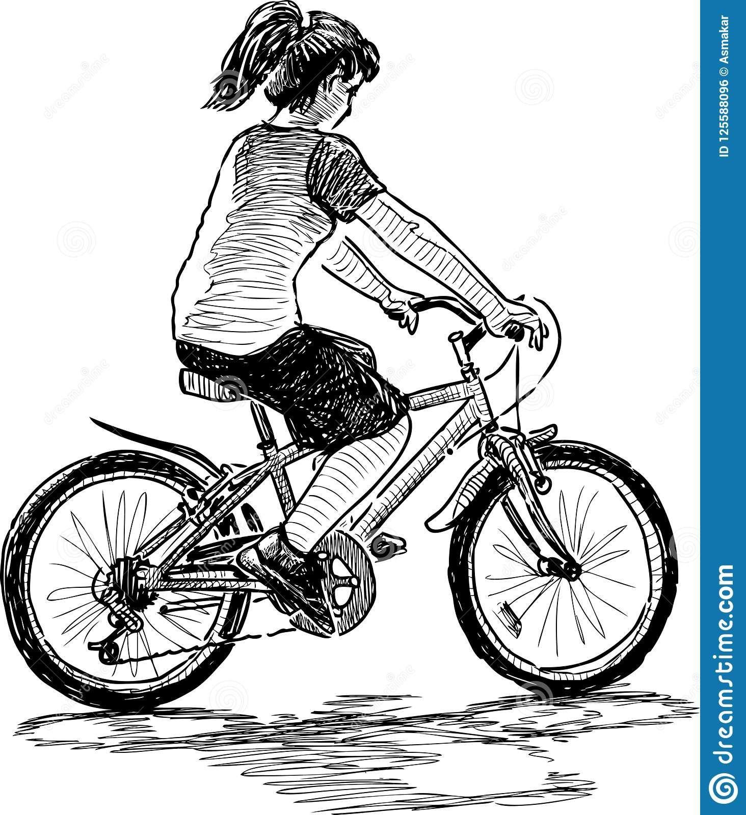 A Teen Girl Rides A Bicycle Stock Vector Illustration Of Profile