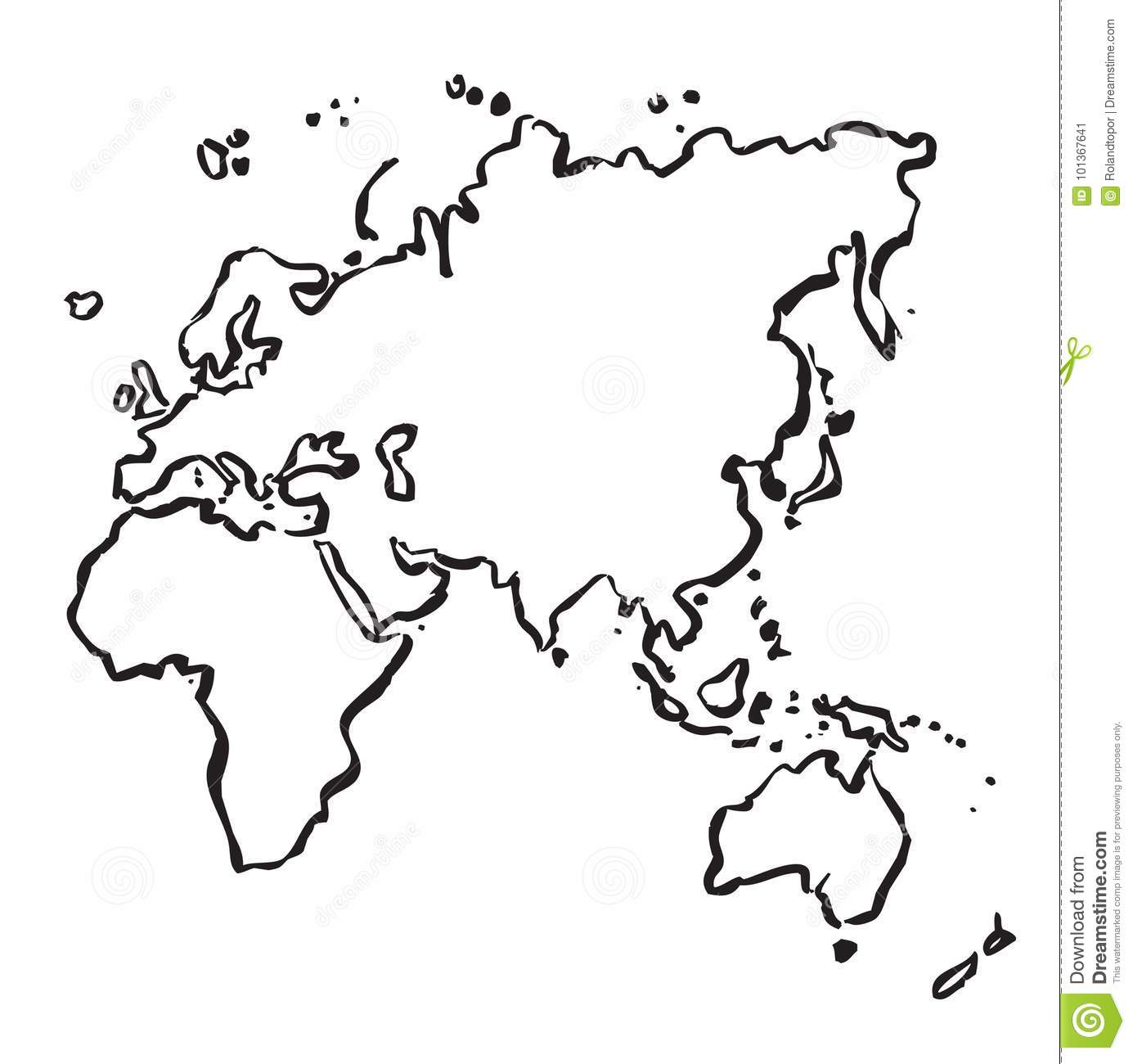 Vector Drawing Map Of Europe Africa Asia And Australia Stock