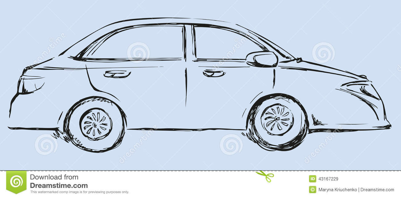 Vector Drawing. Modern Car. Side View Stock Vector - Illustration of ...