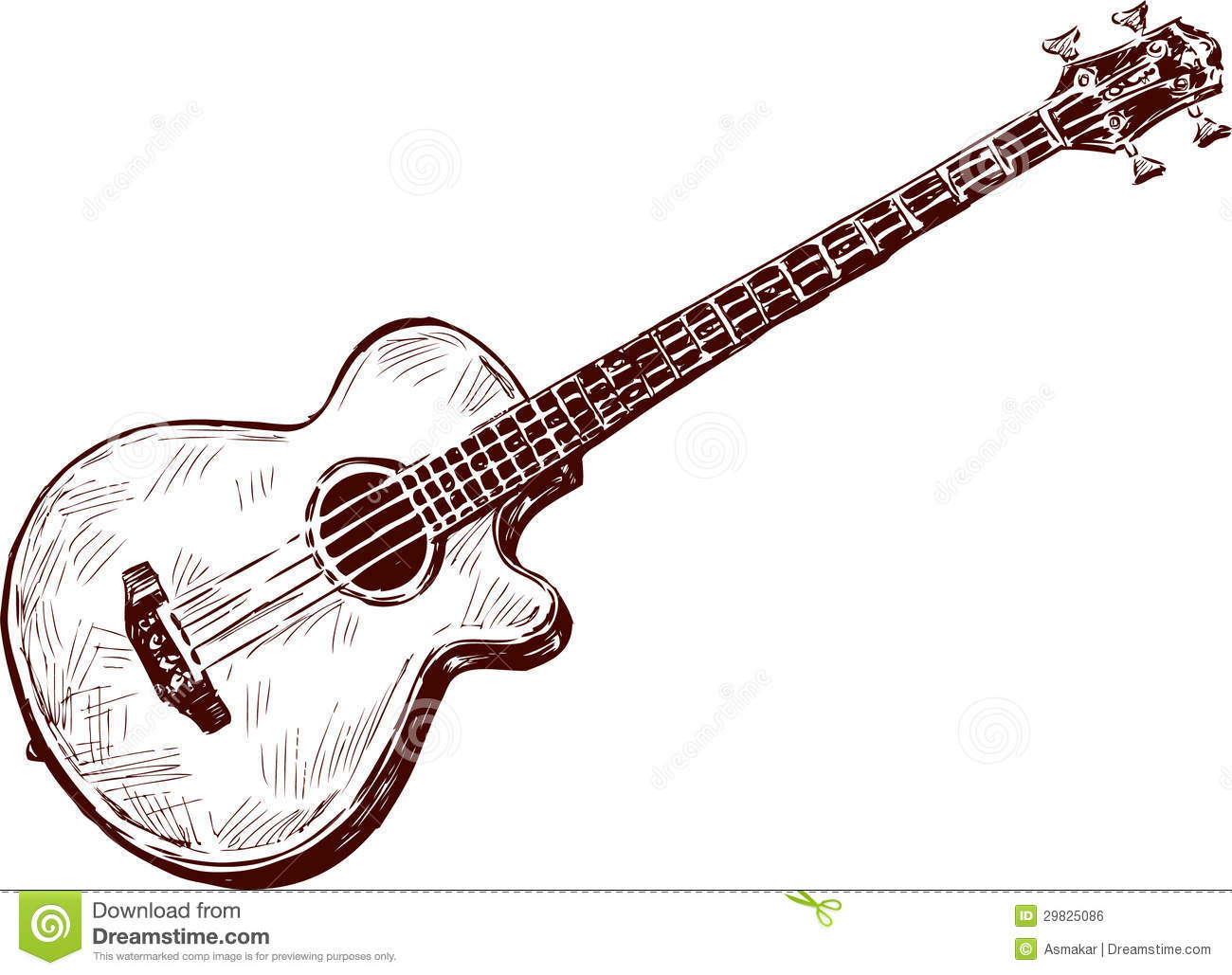 Acoustic guitar stock photo. Image of sketch, musical ...