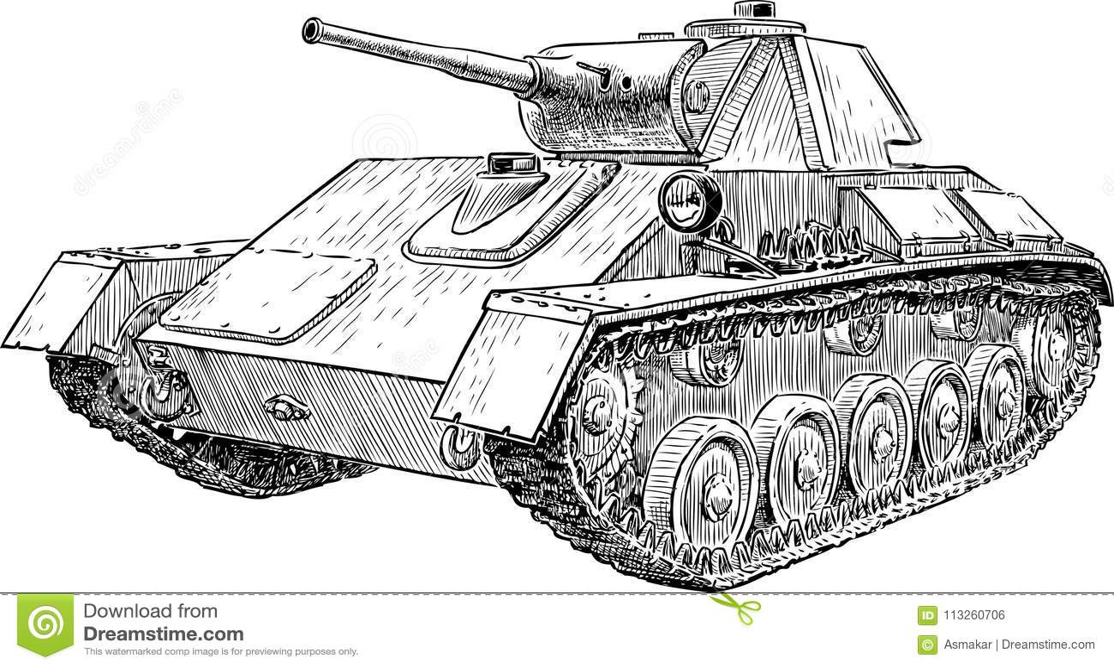 Old Fighting Tank Of World War Ii Stock Vector