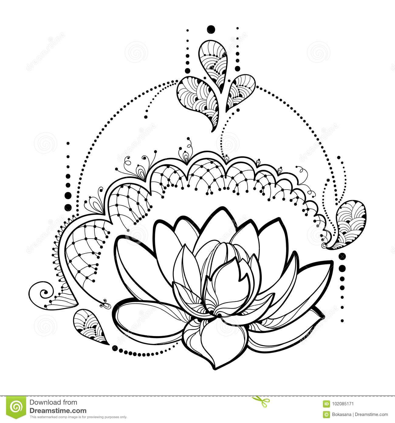 Vector drawing with outline lotus flower decorative lace and swirls vector drawing with outline lotus flower decorative lace and swirls in black izmirmasajfo