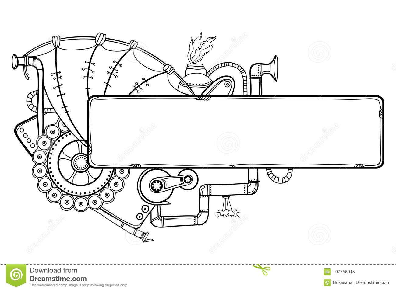 vector drawing of outline steampunk horizontal frame with