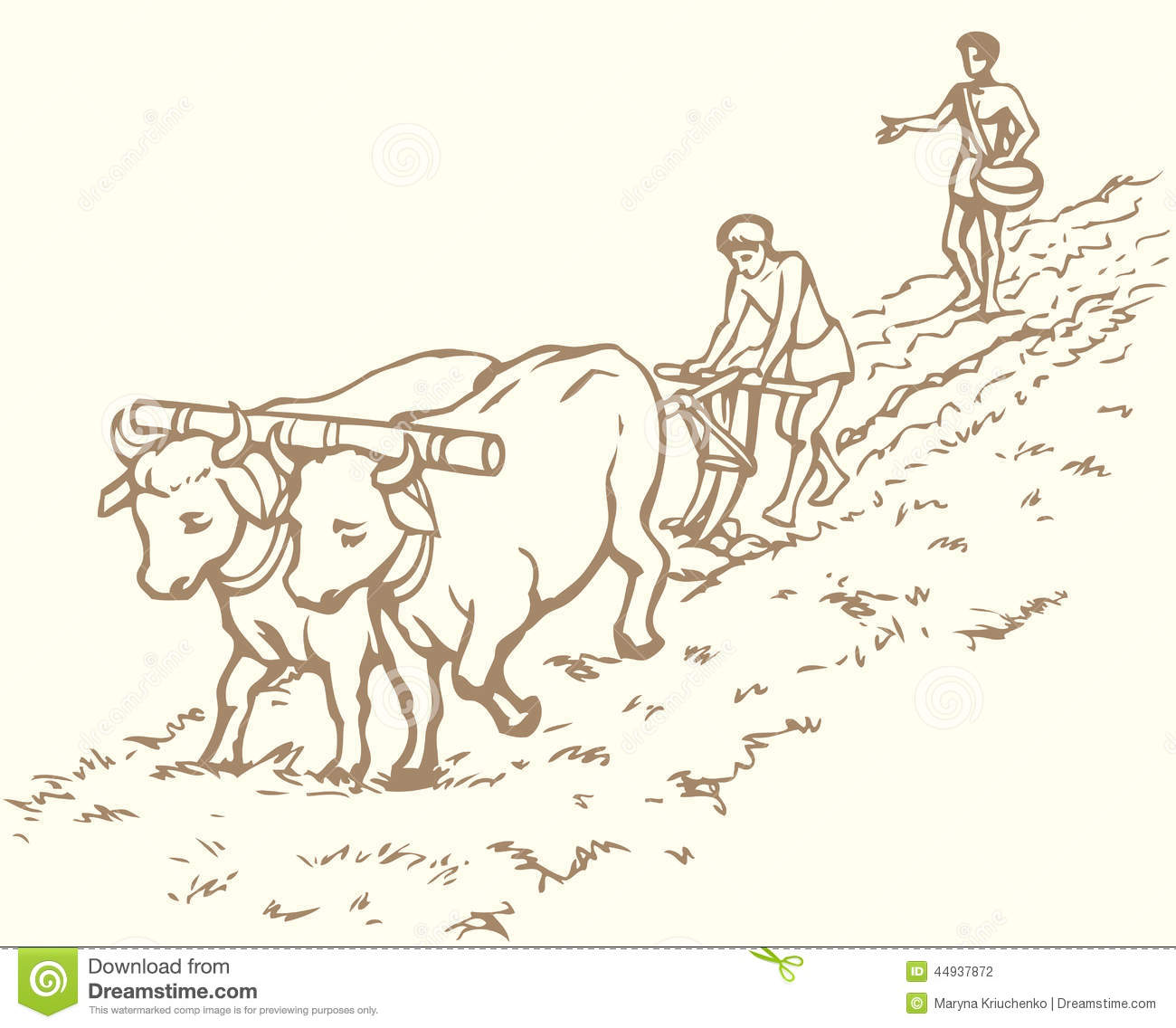 Vector Drawing. Primitive Agriculture. Peasants Treated Field Stock ...