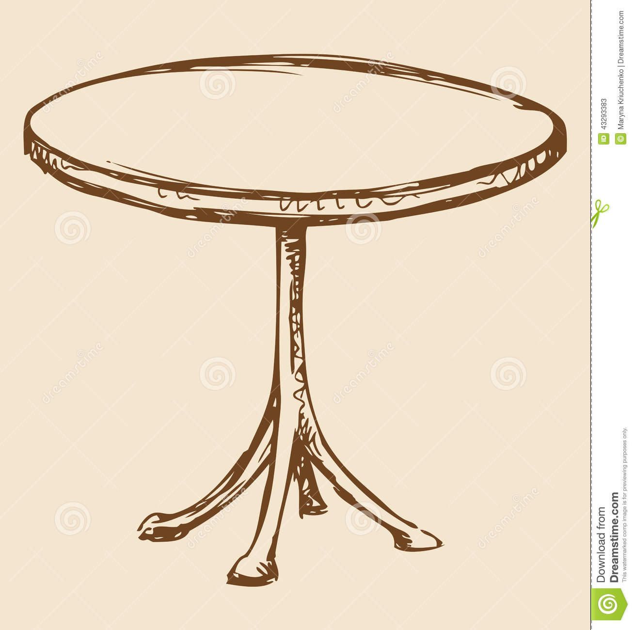 Line Art Table : Vector drawing round table stock image