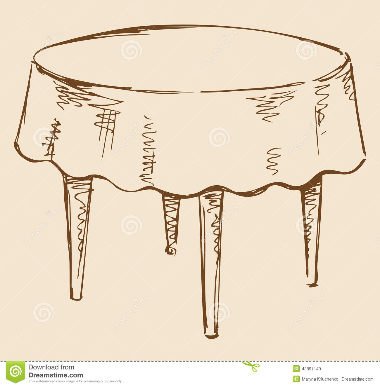 Vector Drawing Round Table With Tablecloth Stock
