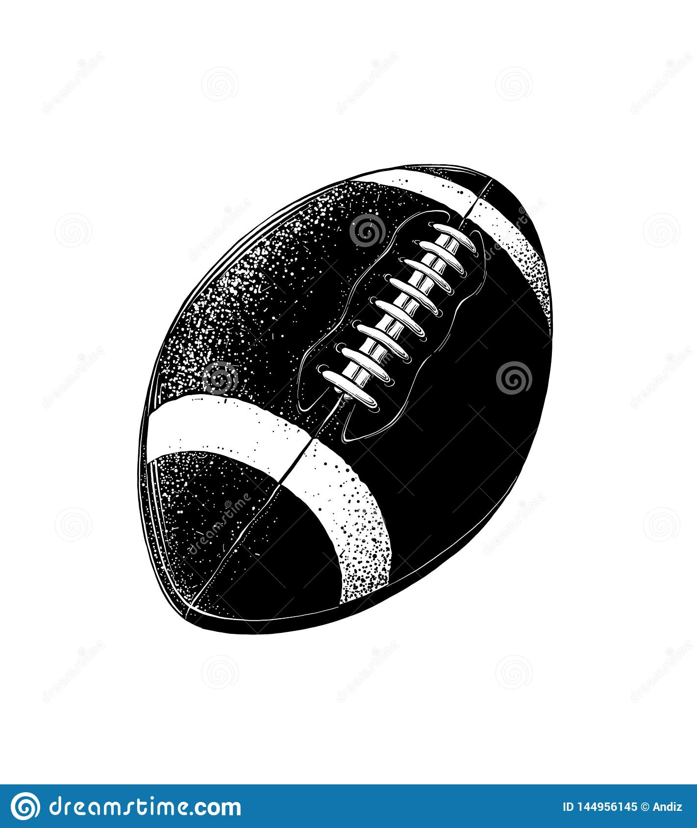 Vector Drawing Of Rugby Ball In Black Color Isolated On White Background Graphic Illustration Hand Drawing Drawing Stock Vector Illustration Of League Background 144956145