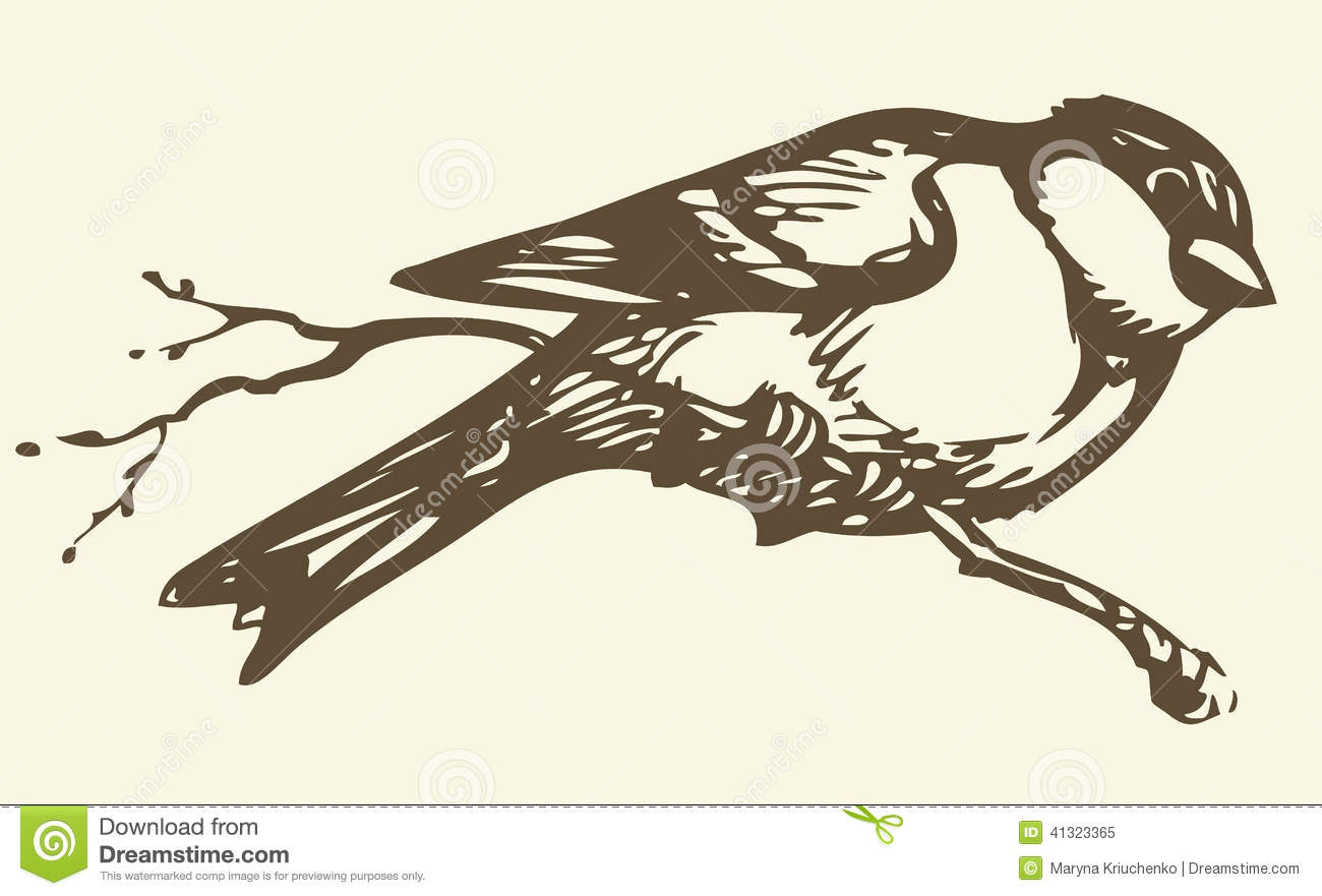 Vector Drawing. Small Titmouse On A Branch Stock Vector