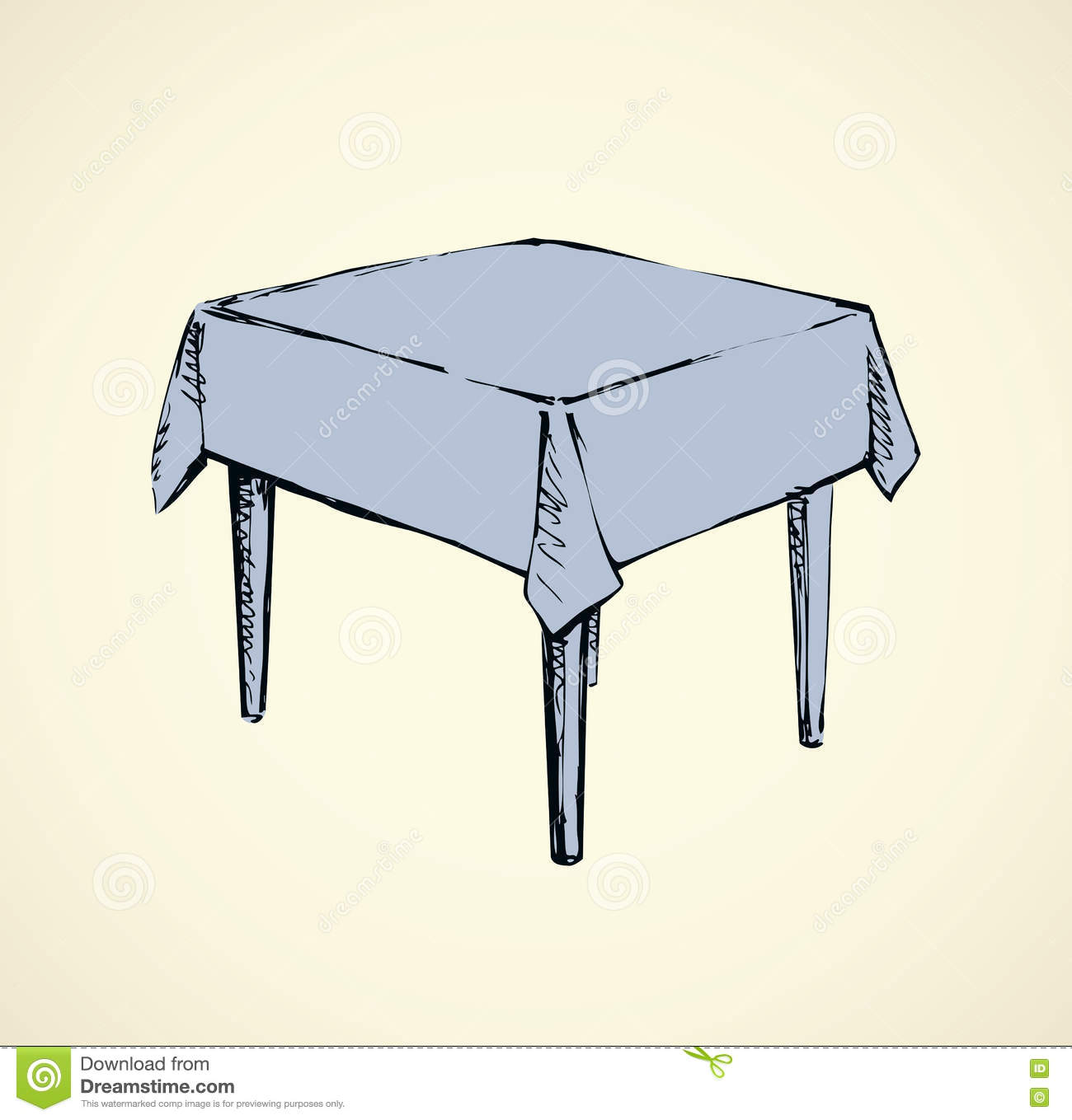 Line Drawing Table : Vector drawing square table with tablecloth stock