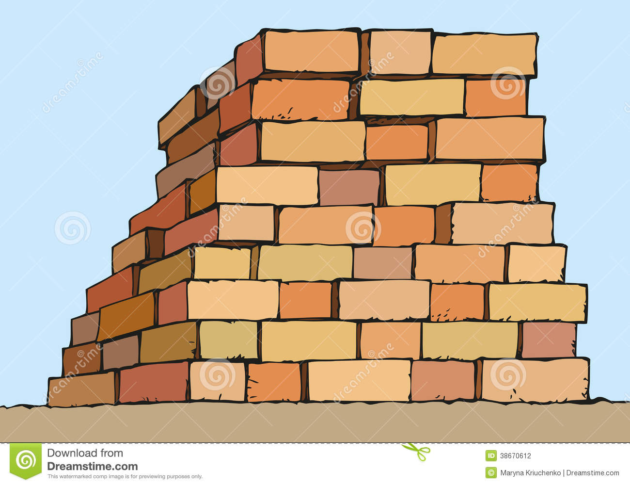Vector Drawing. Stack Of Red Bricks Stock Vector