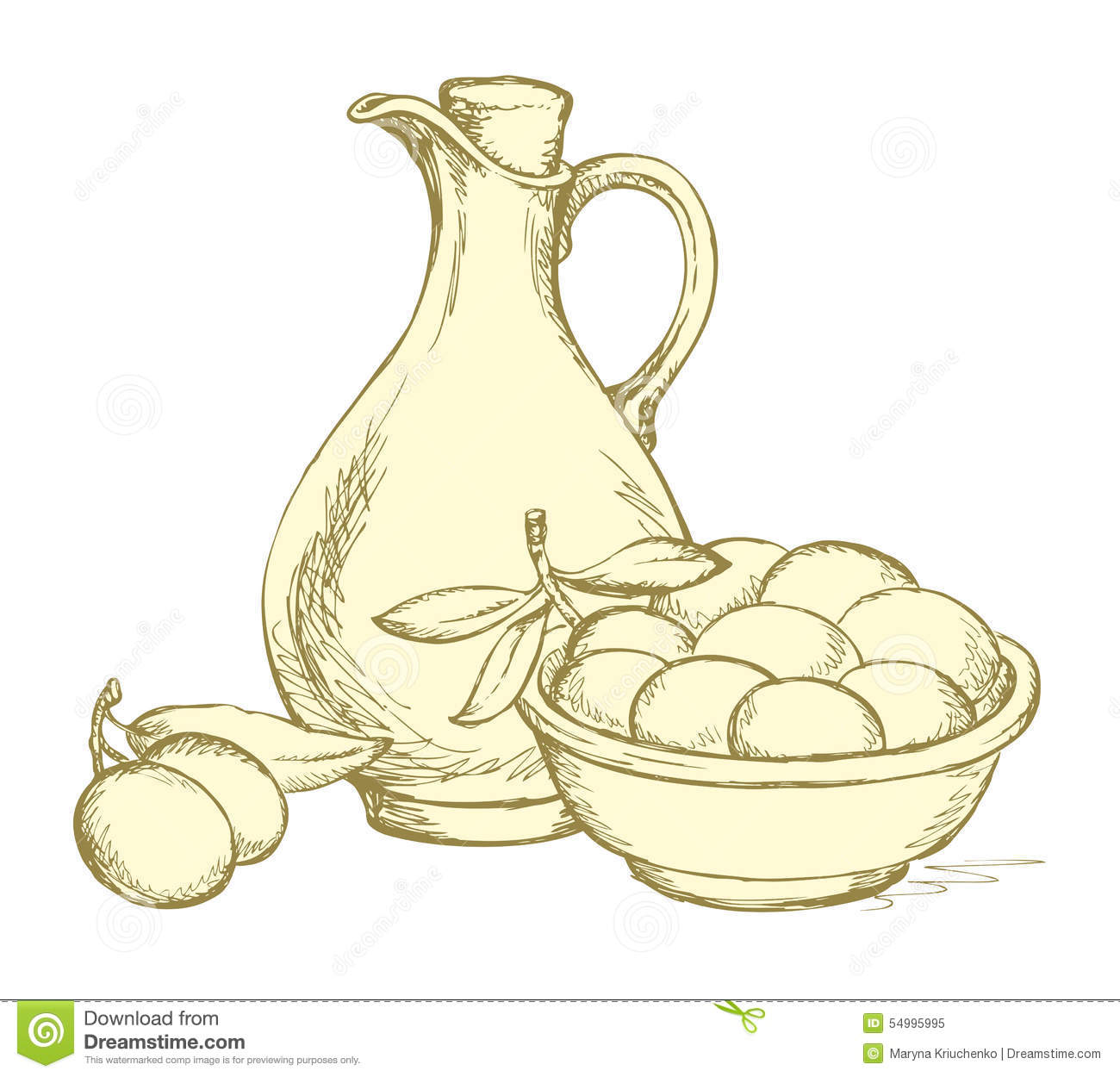 Line Drawing Jug : Vector drawing still life of oil in jug and olives sprigs