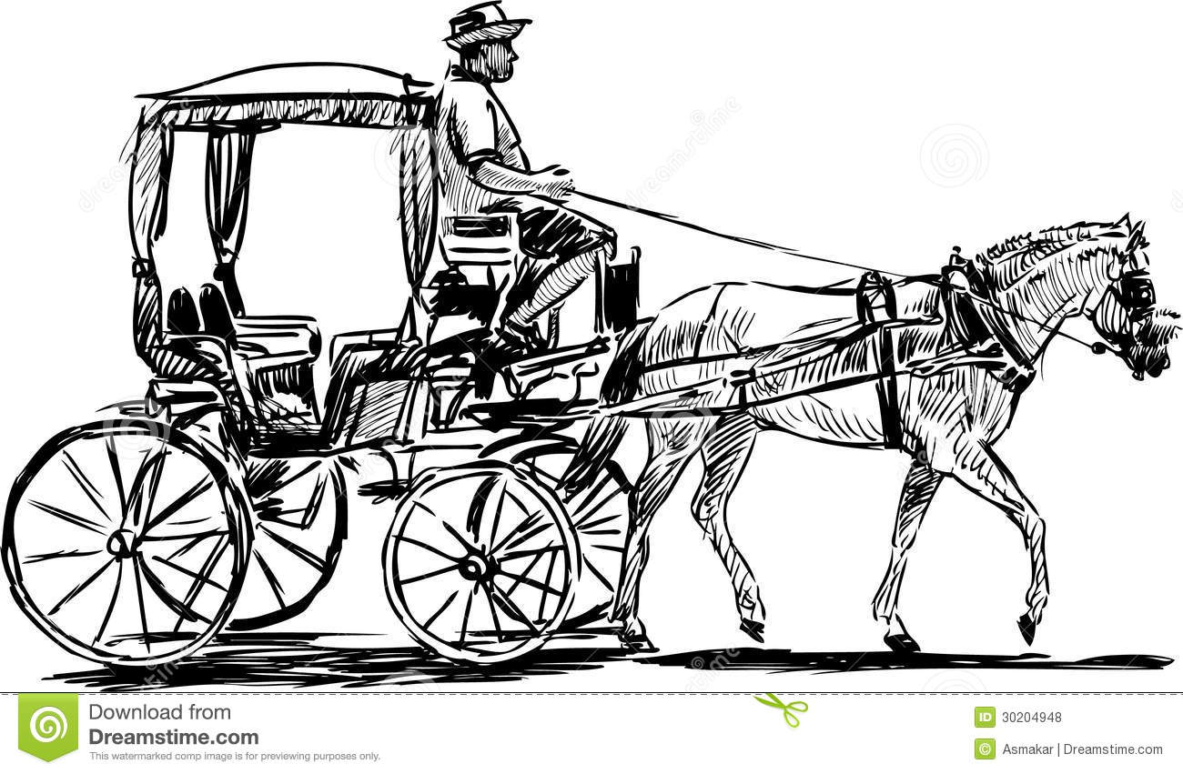 Vector drawing of a tourist horse-drawn carriage in the streets of ...
