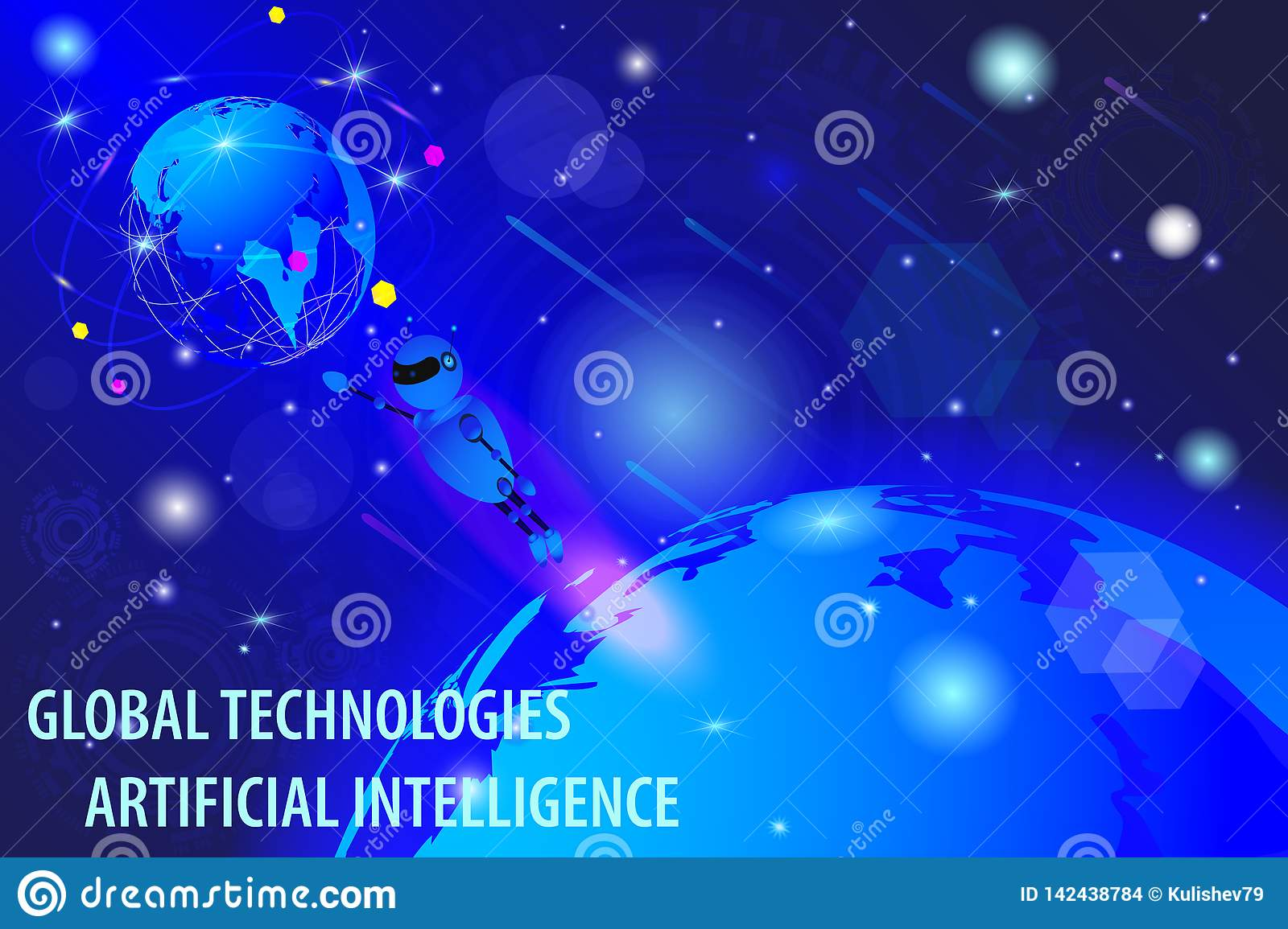Vector drawing, virtual concept of world global cyber technology