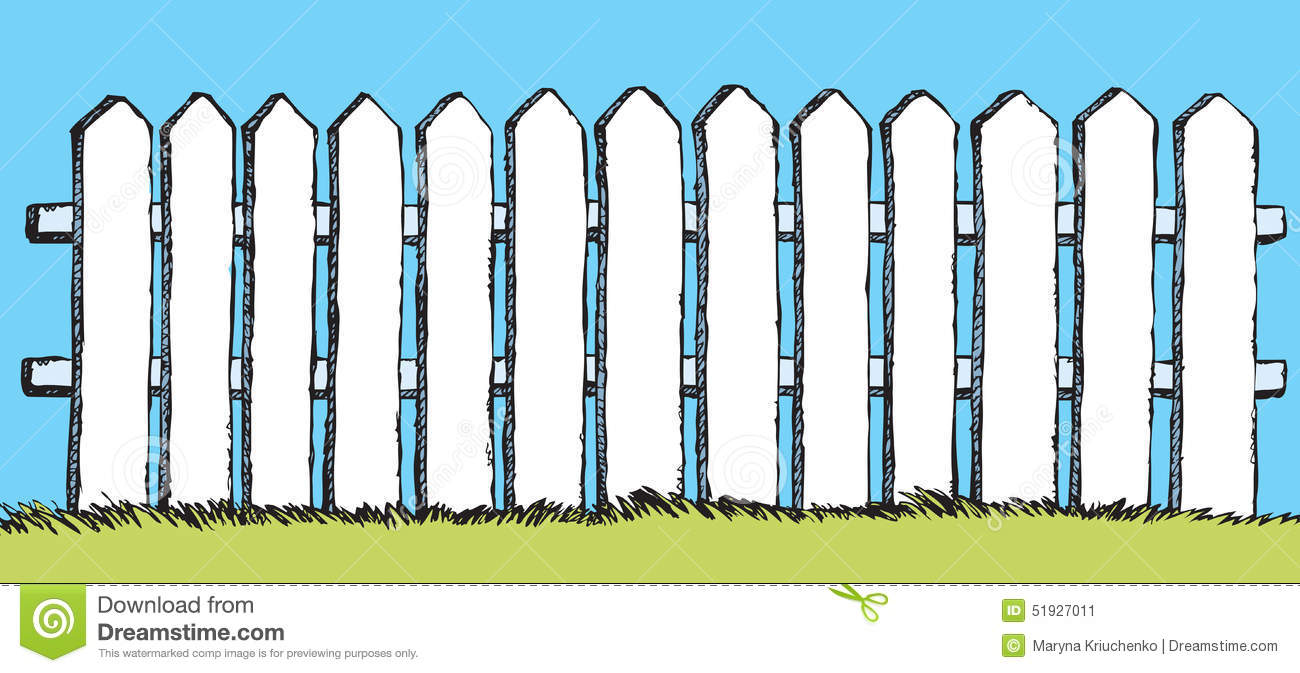 Picket Fence Drawing Throughout Vector Drawing White Fence With Boards Drawing Fence With Boards Stock Illustration