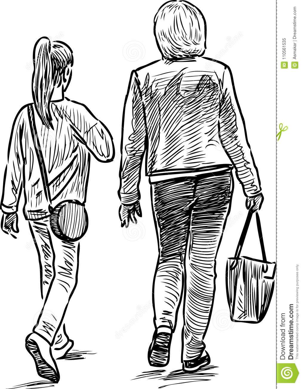 Sketch Of A Mother With Her Daughter Going On A Walk Stock Vector