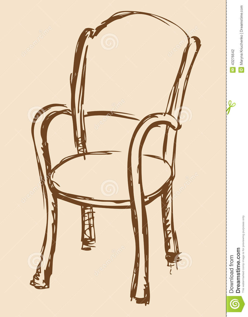 Vector Drawing Wooden Chair With Armrests Stock Vector  : vector drawing wooden chair armrests monochrome line sketches style pen paper chipped soft cloth used cafes 43276642 from www.dreamstime.com size 1016 x 1300 jpeg 102kB