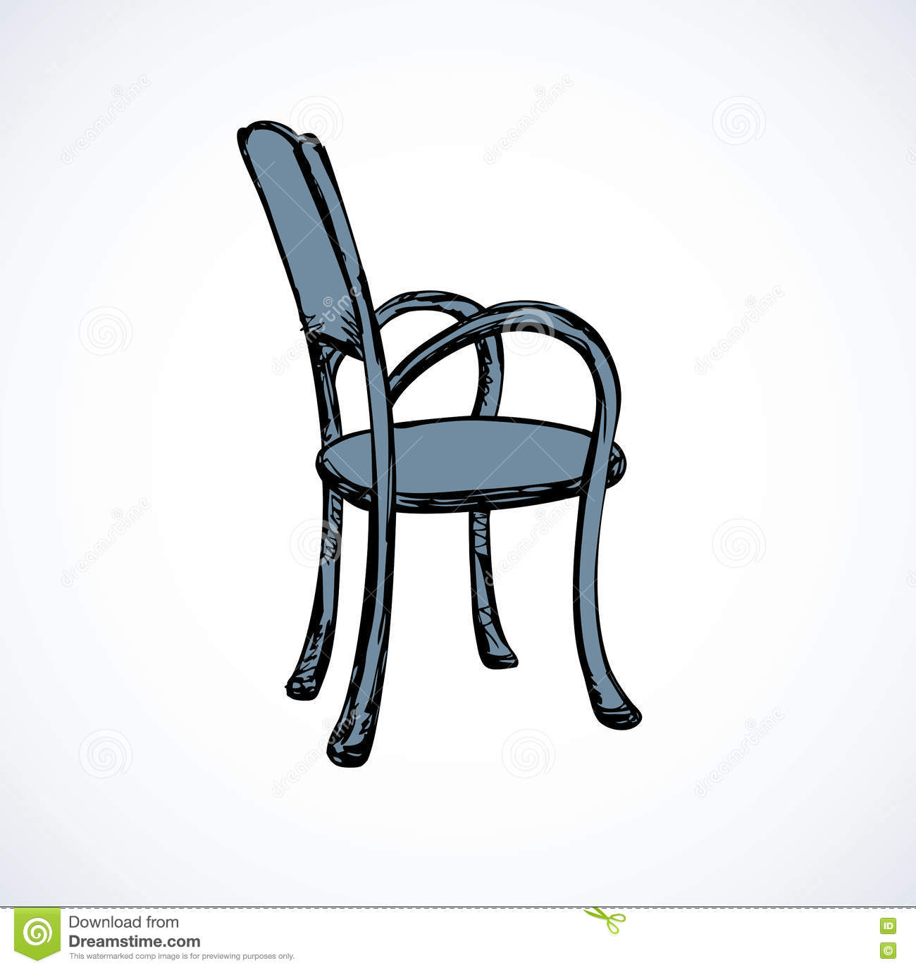 Vector Drawing Wooden Chairs With Armrests Stock Vector Image