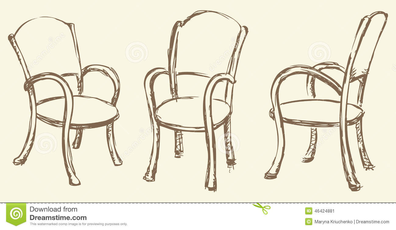 Vector Drawing Wooden Chairs With Armrests Stock Vector