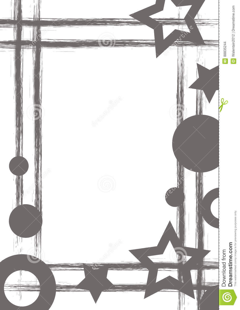 Vector drawn geometric background with geometrical figures, frame, border Grunge template with stars, circles, dots Old style vint
