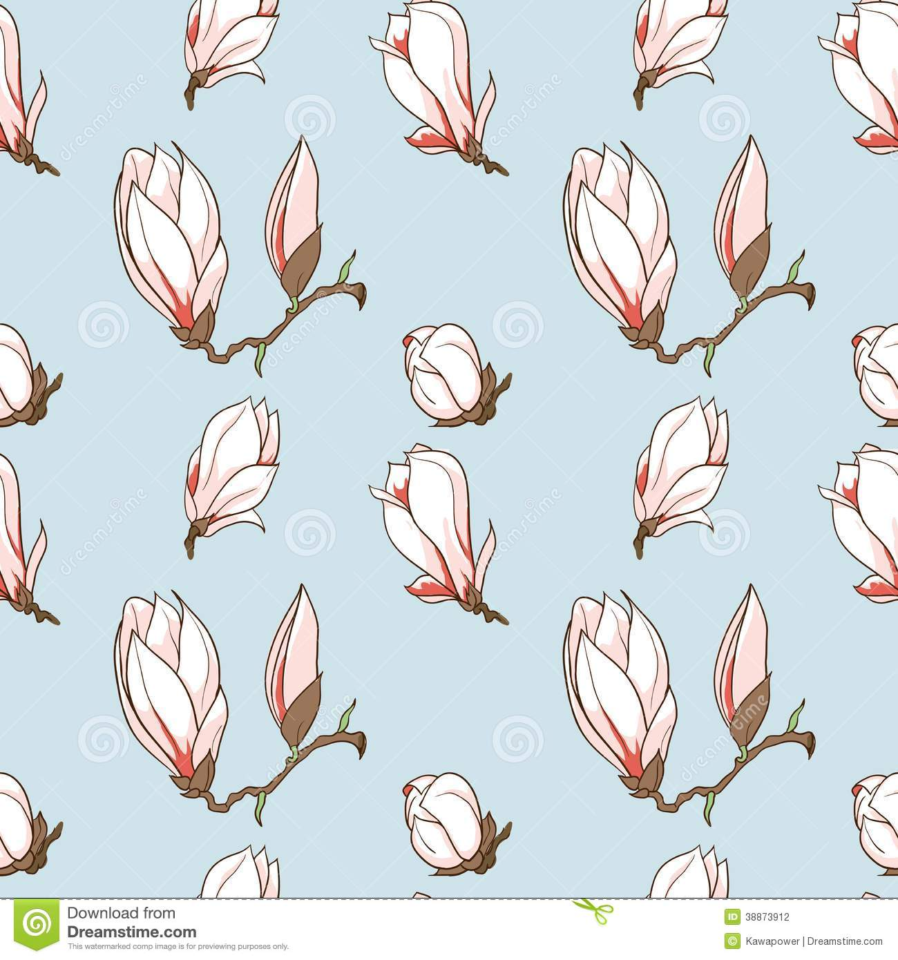 Vector Drawn Magnolia Flowers Seamless Pattern Stock