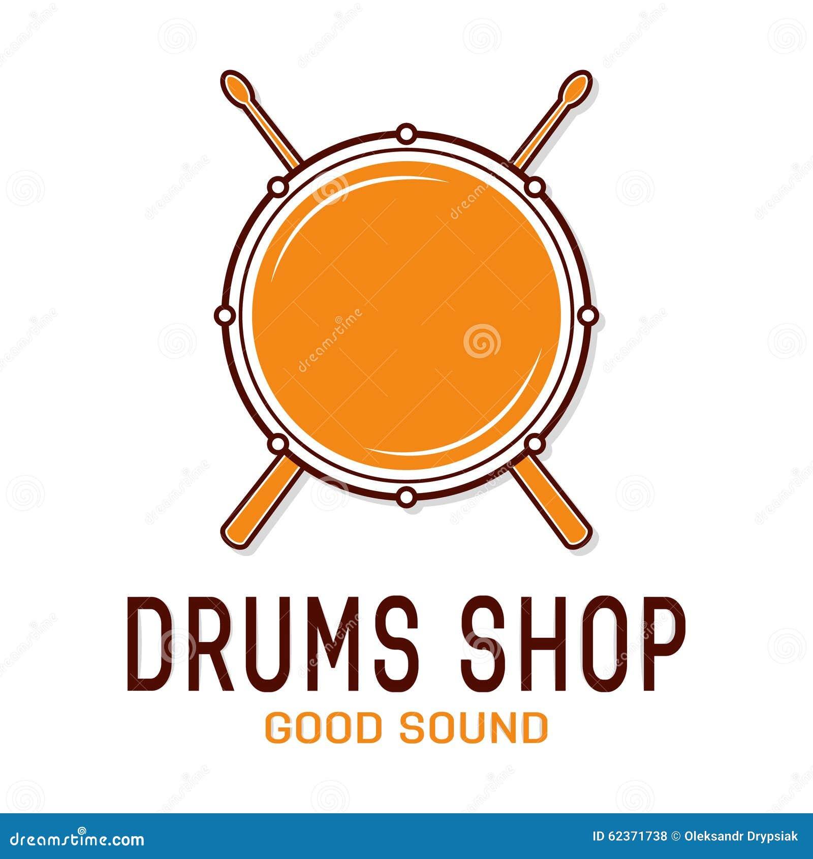 Vector Drum Icon With Sticks. Drum School Logo Stock Vector - Image ...