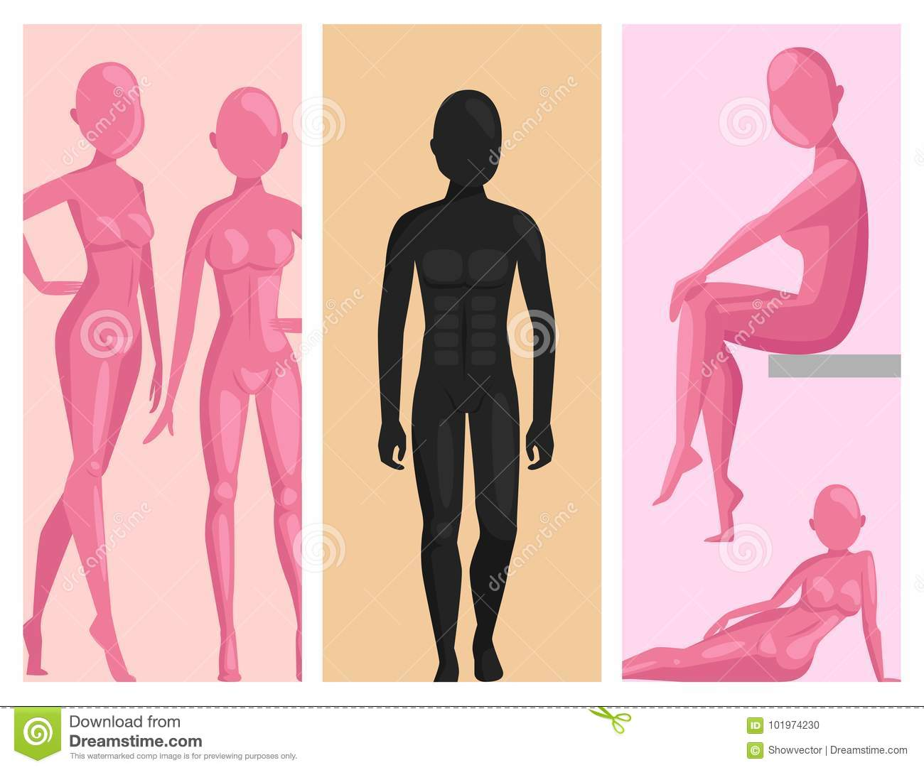 Vector Dummy Mannequin Model Poses Male And Female Beautiful