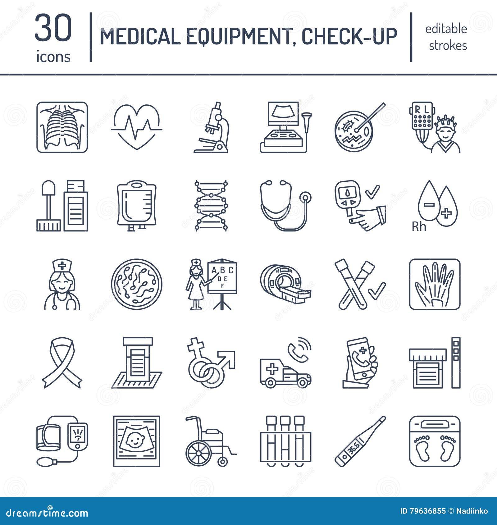 Vector dun lijnpictogram van medische apparatuur, onderzoek Medische controle, testelementen - MRI, röntgenstraal, glucometer, bl