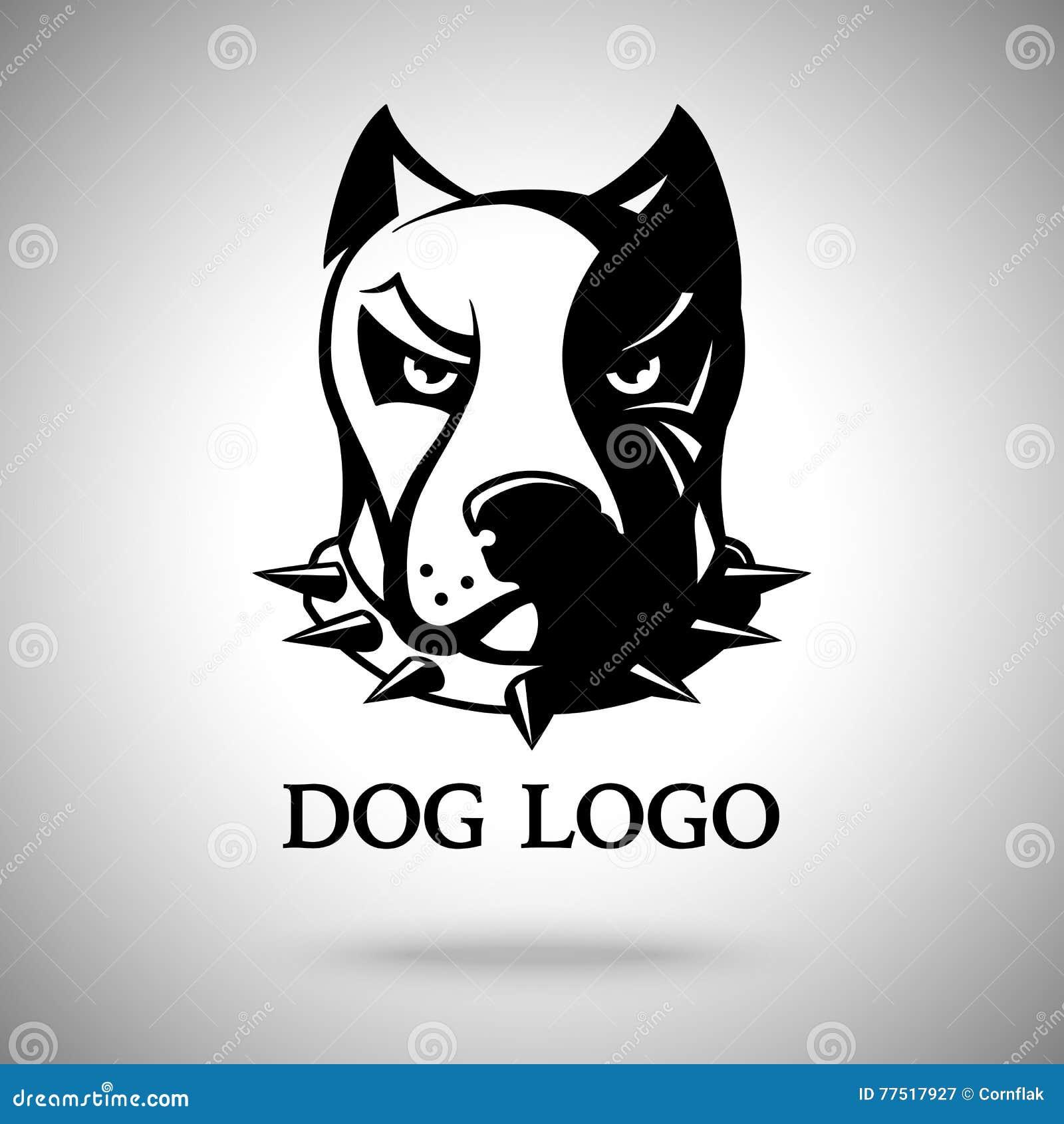 Vector Dunklen Hundekopf In ährentragendem Kragen, Schablone Für ...