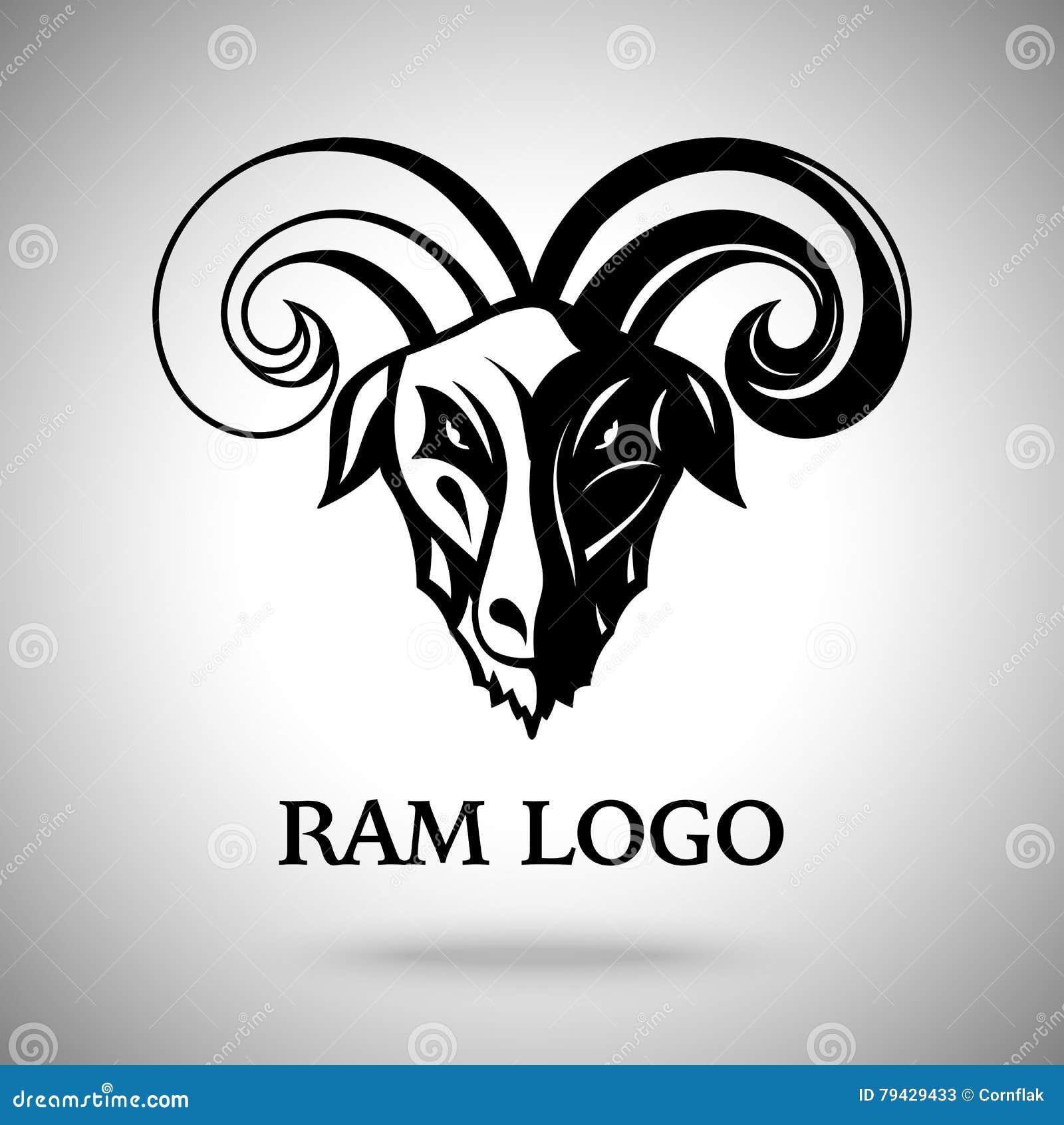 Vector Dunklen RAM-Ziegenkopf Mit Hörnern, Schablone Für Logo ...