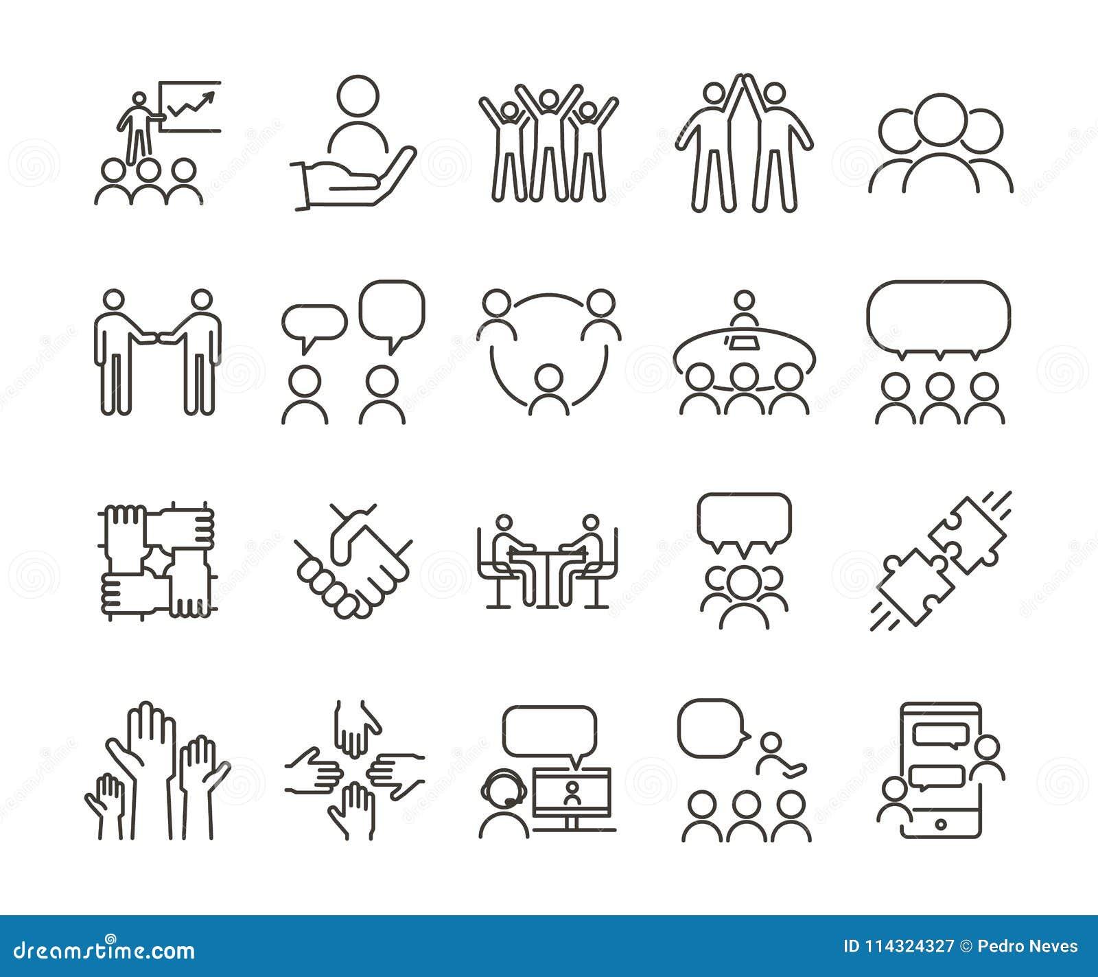 Vector dunne de illustratiereeks van het lijnpictogram Groepswerk en mensen die, en samen voor bedrijven communiceren werken op e
