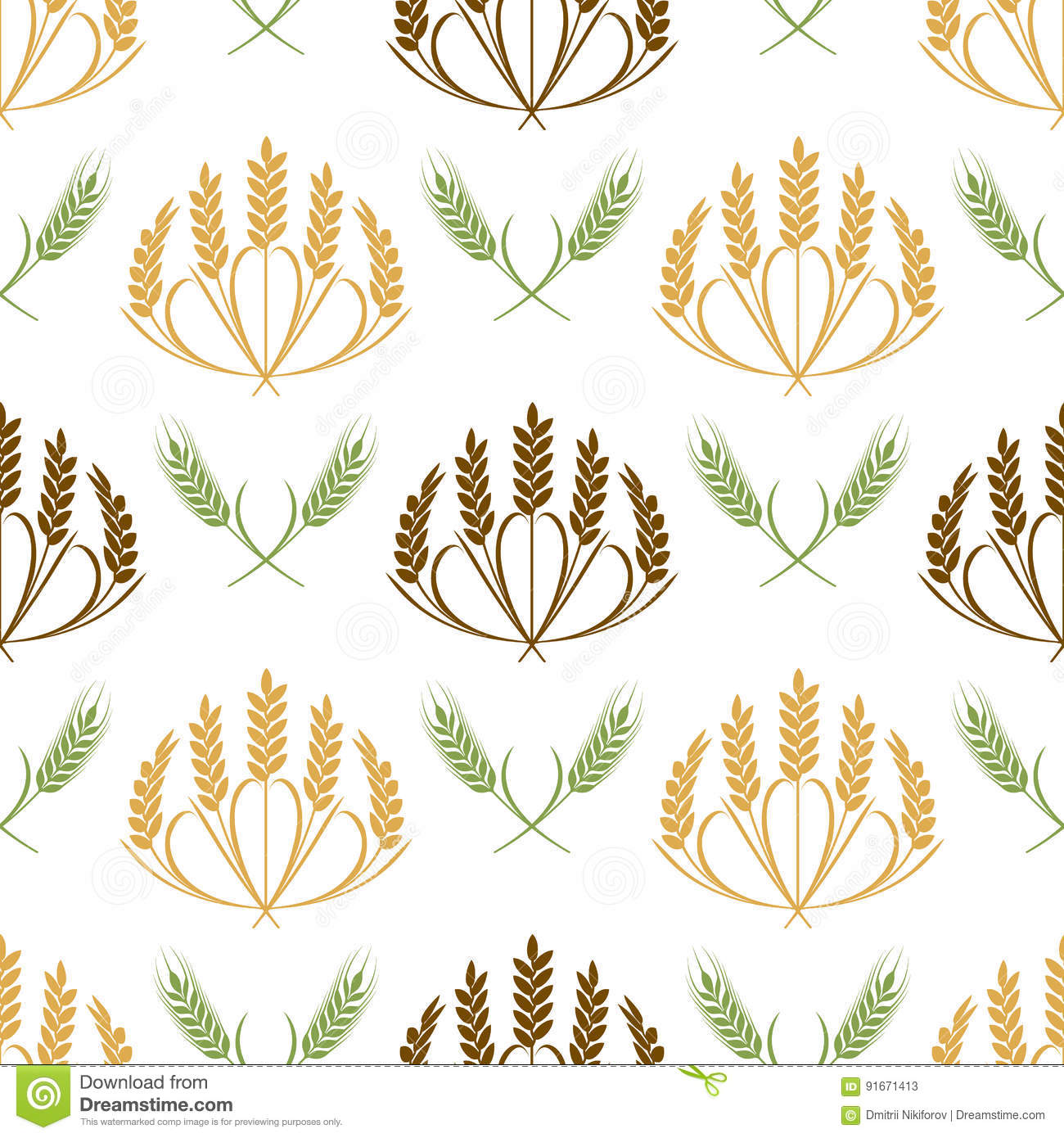 vector ears of wheat and grains seamless pattern illustration stock