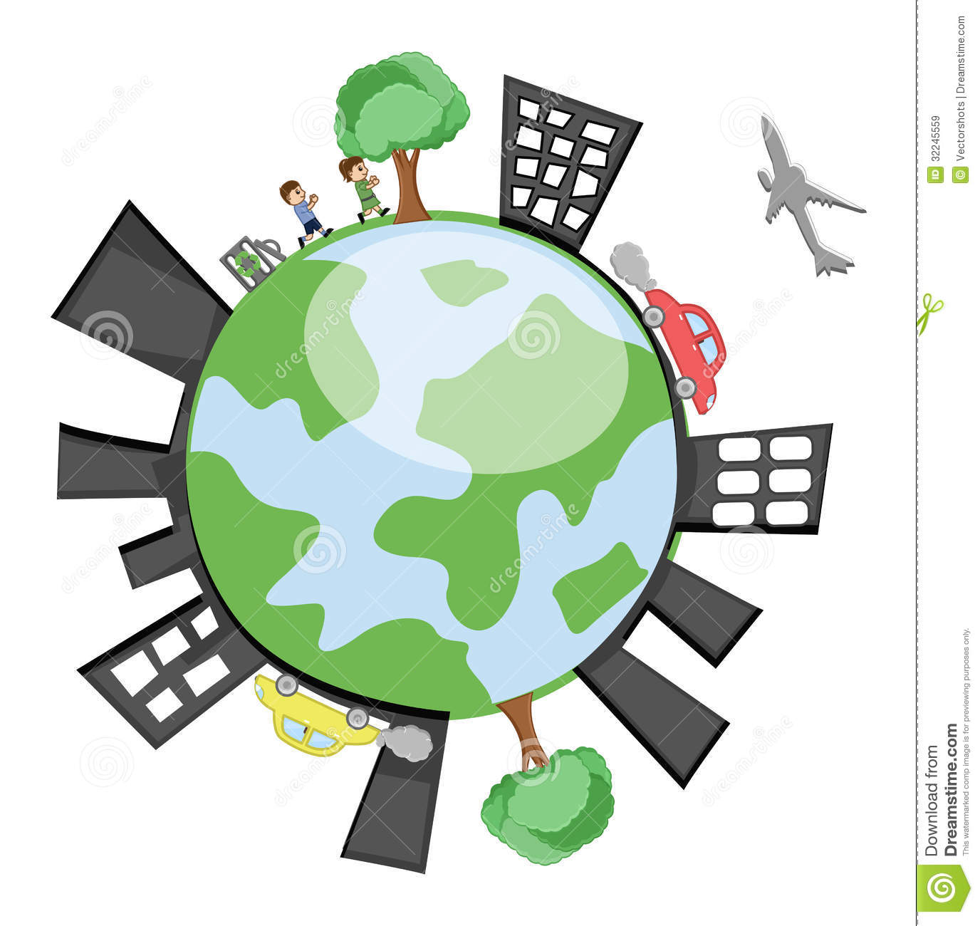 Vector Earth Showing Buildings, Childrens, Trees Royalty Free Stock ...