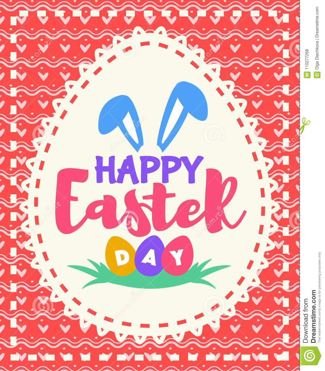Vector Easter Greeting Card With Wish Happy Easter Day Colorful