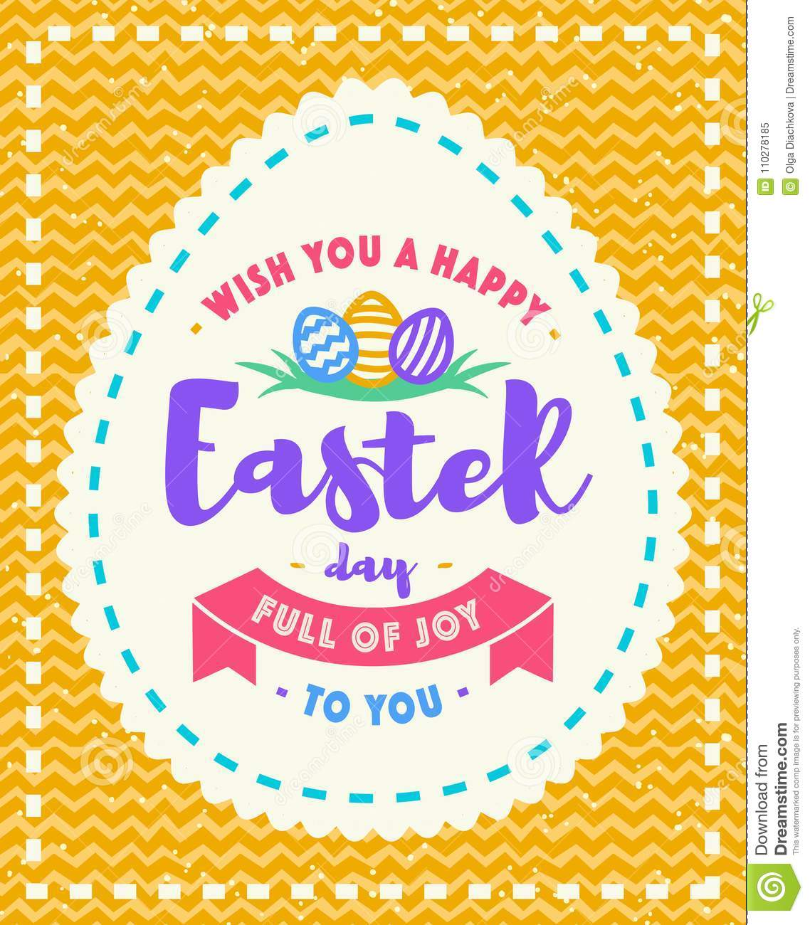 Vector Easter Greeting Card With Wish You A Happy Easter Day Symbol