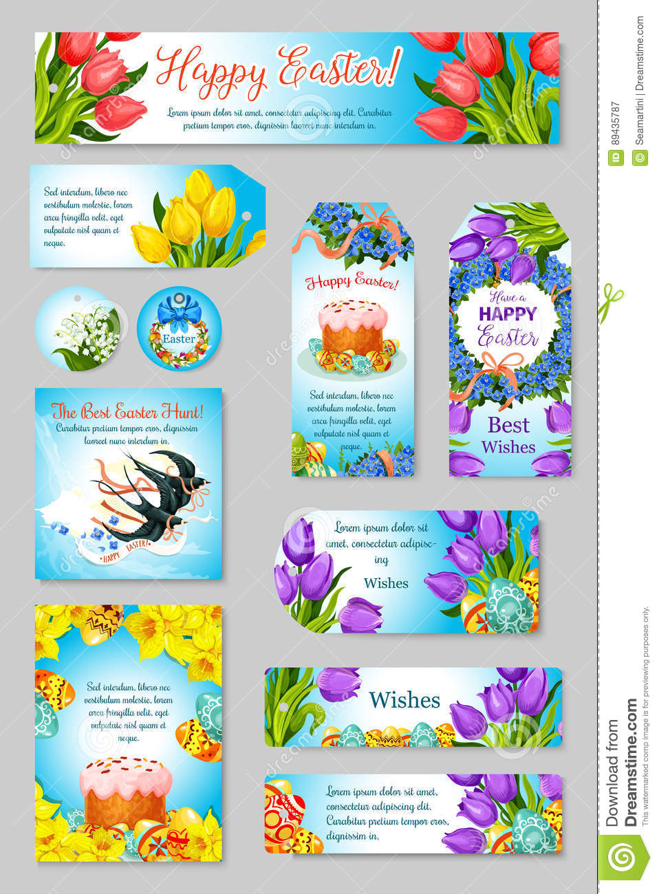Vector Easter Greeting Cards Tags Banners Set Stock Vector