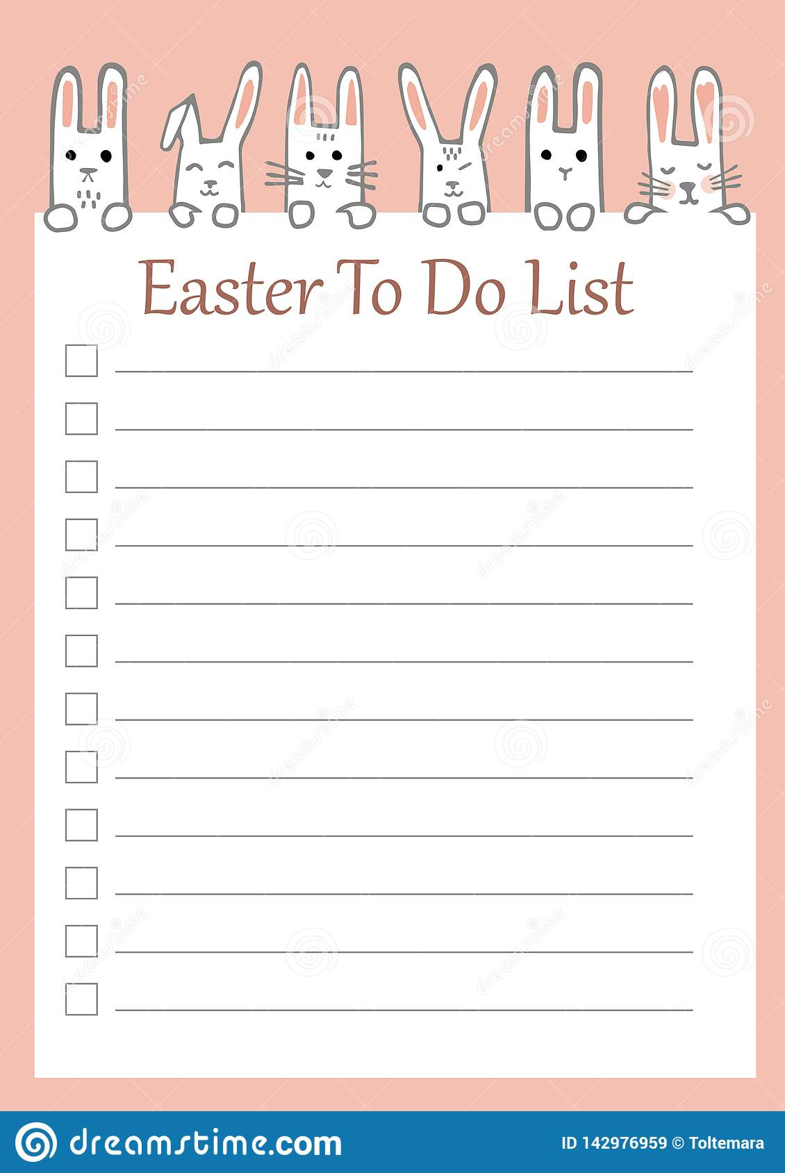 photograph about Easter Stationery Printable identify Vector Easter Toward Do Checklist With Amusing Bunnies. Printable