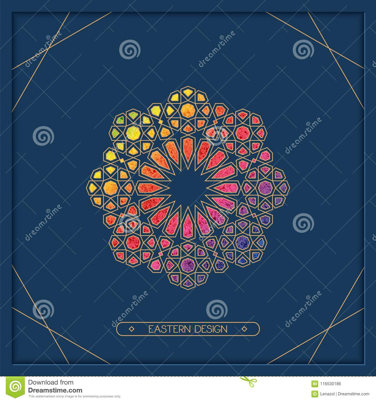 6511a1b3bbeb Vector eastern arabic colorful print design with ornamented symbol. design  for card