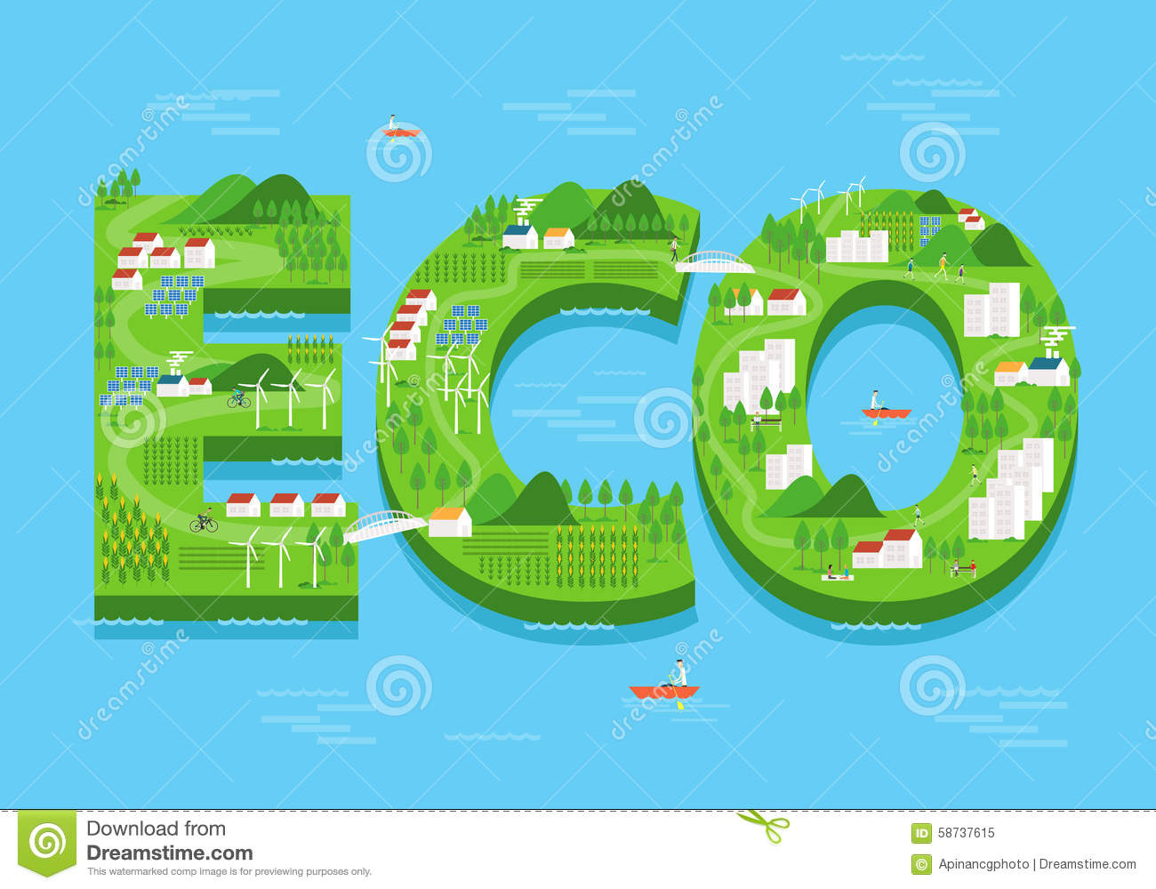 vector eco green city concept flat and ecology background stock vector. Black Bedroom Furniture Sets. Home Design Ideas