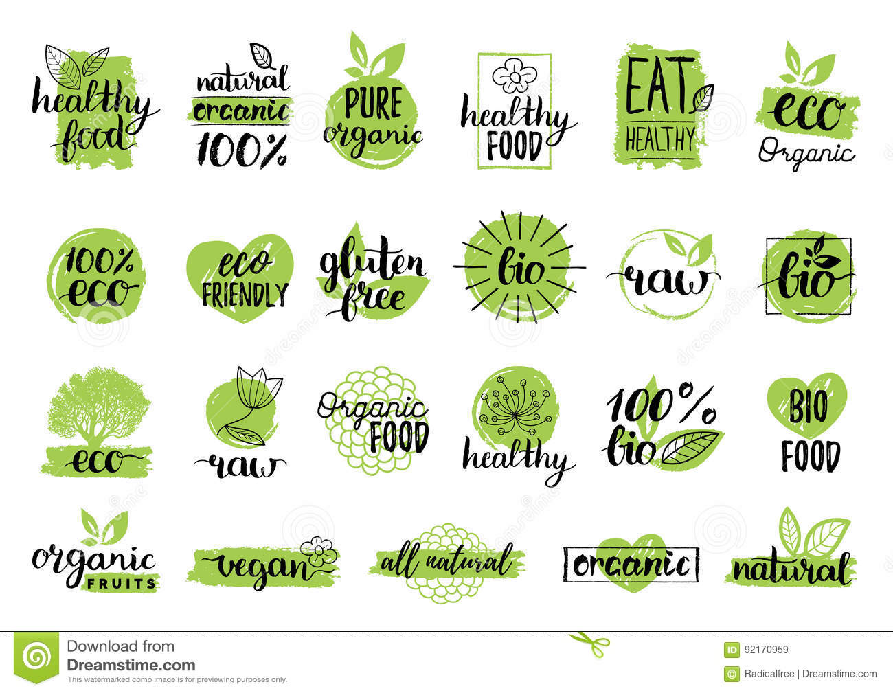 Vector Eco Organic Bio Logos Or Signs Vegan Healthy Food Badges Tags Set For Cafe Restaurants Products Packaging Etc Stock Vector Illustration Of Icon Emblem 92170959
