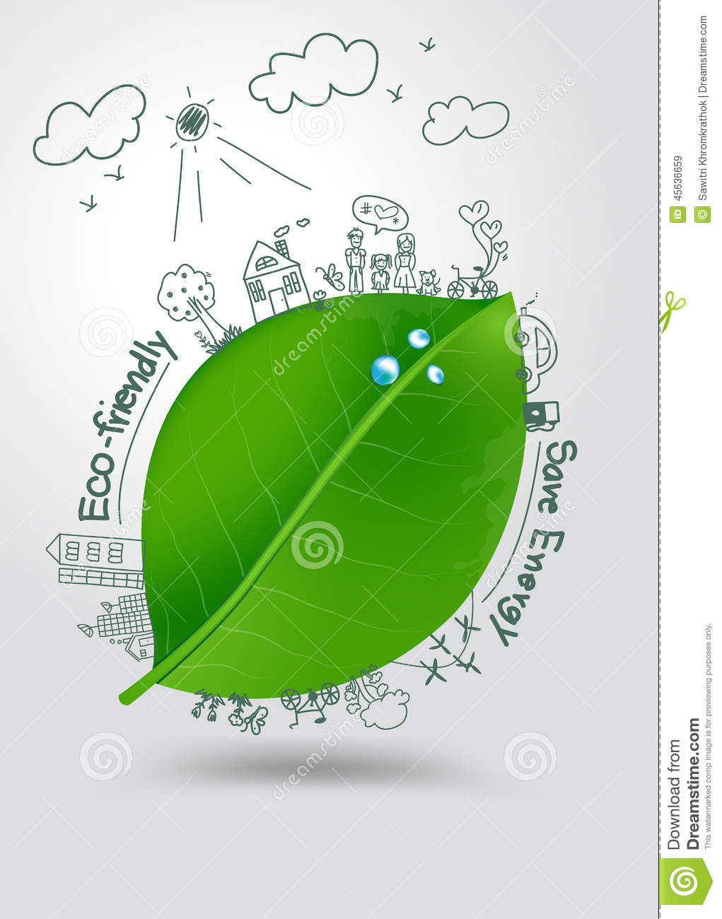 Vector ecology concept creative drawing on green leaf