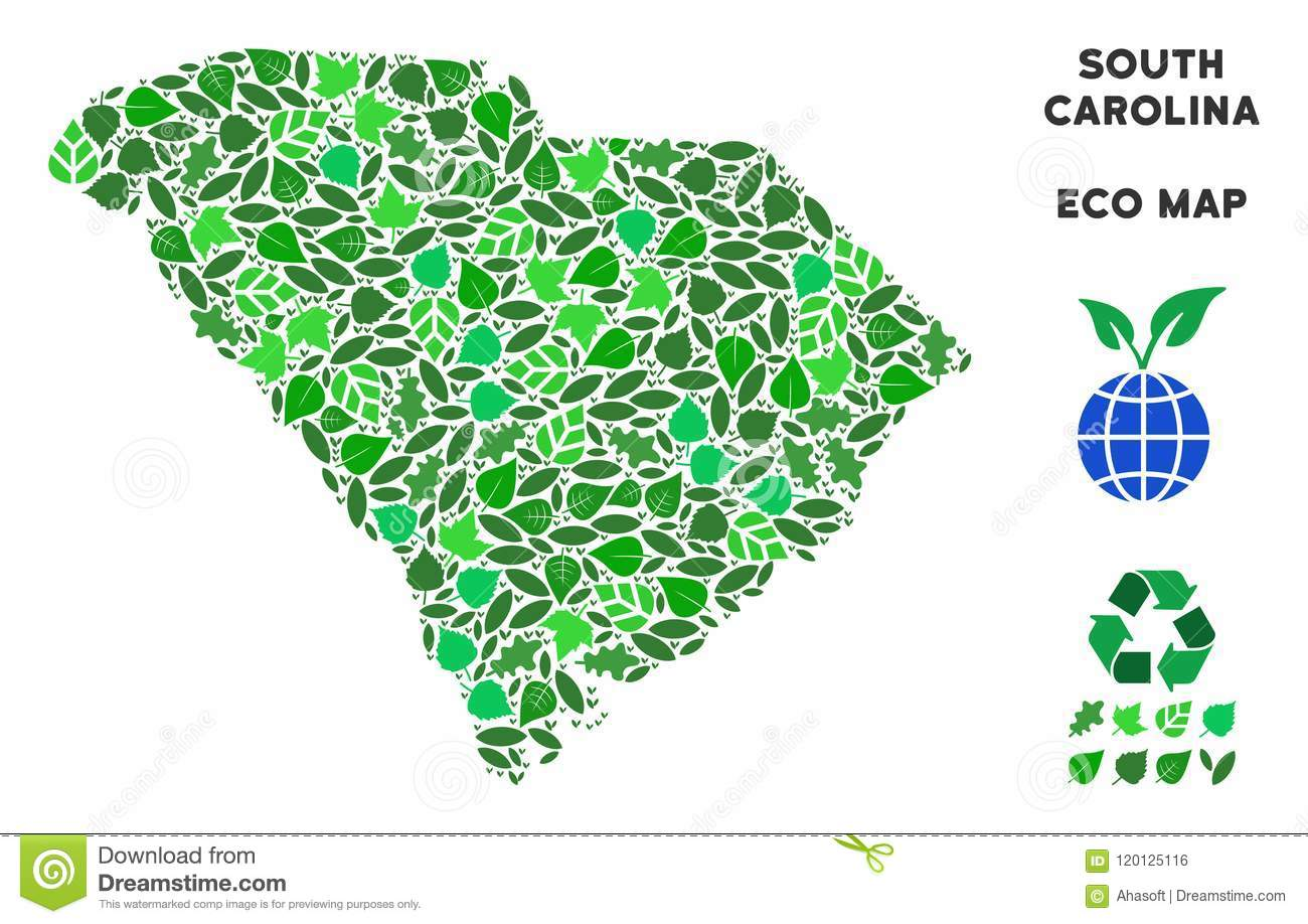 Vector Ecology Green Collage South Carolina State Map Stock ...