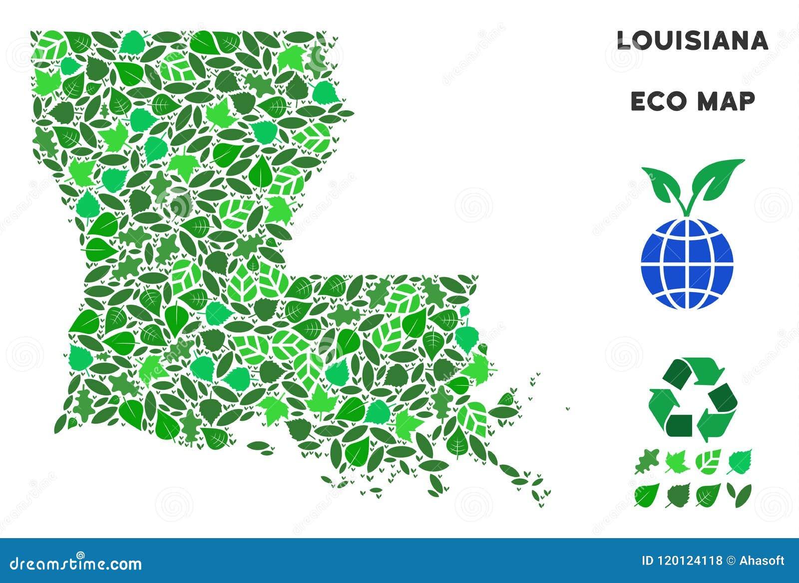Geographic Map Of Louisiana.Vector Ecology Green Mosaic Louisiana State Map Stock Vector