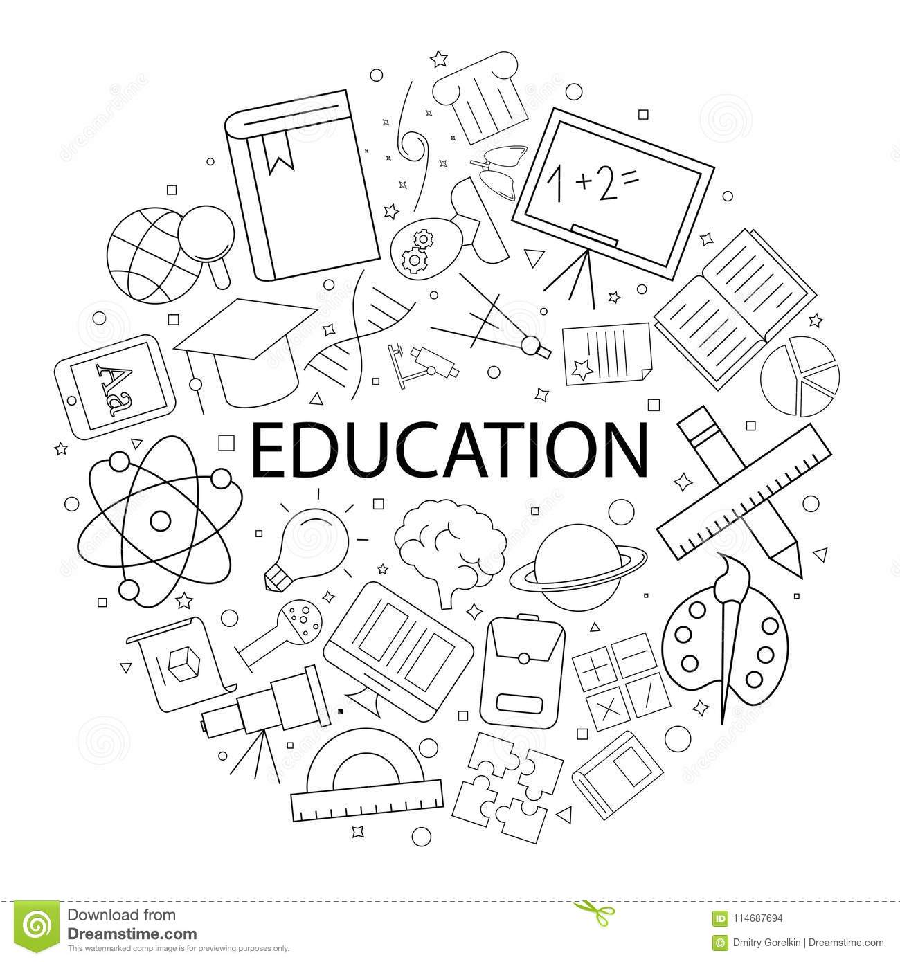 Vector Educati On Pattern With Word. Education Background ...