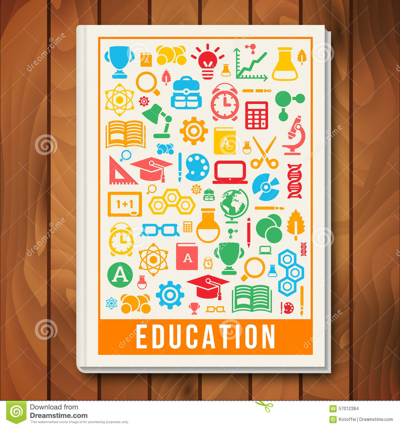 Science School Book Cover : Vector education concept e learning and science stock