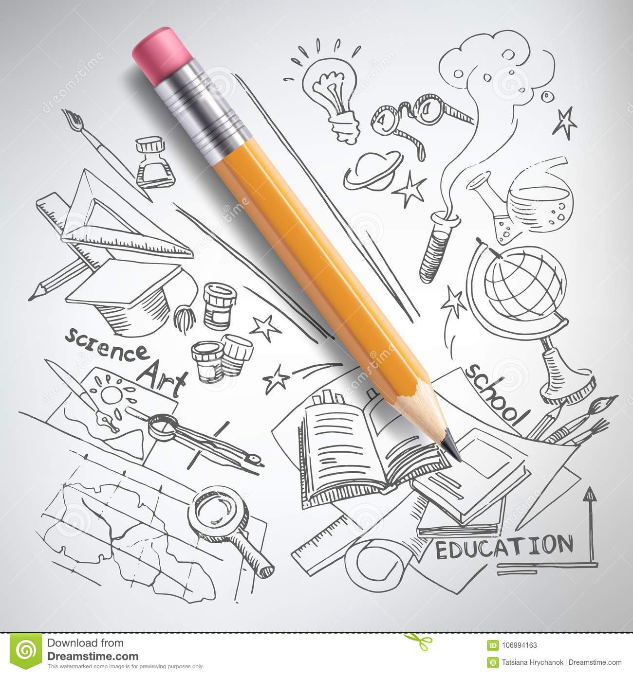 Vector realistic pencil on paper with sketch creative education science school hand drawn doodles symbols concept of idea study research and