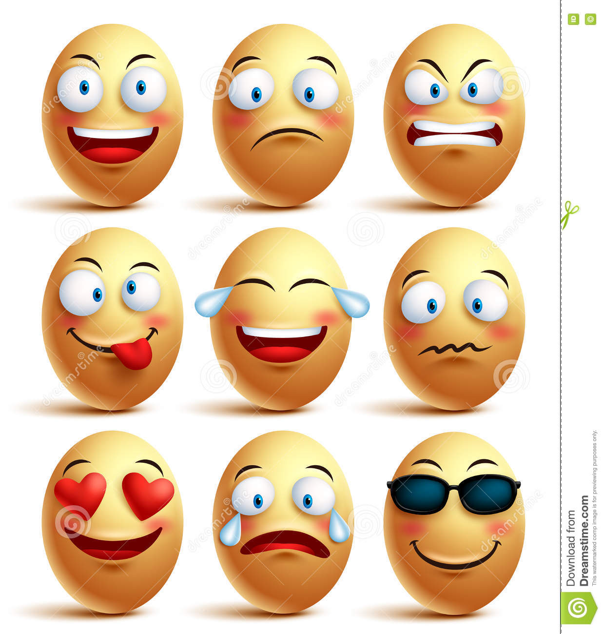 Vector Egg Face Set Of Emoticons With Emotions And Facial