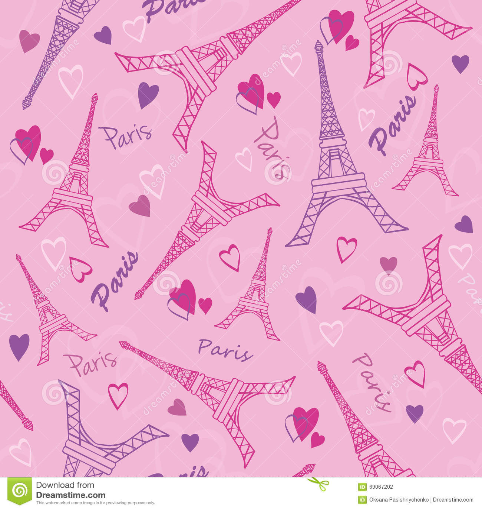 As Creation Pink Paris Pattern Eiffel Tower Childrens: Vector Eifel Tower Paris Love Pink Purple Drawing Seamless