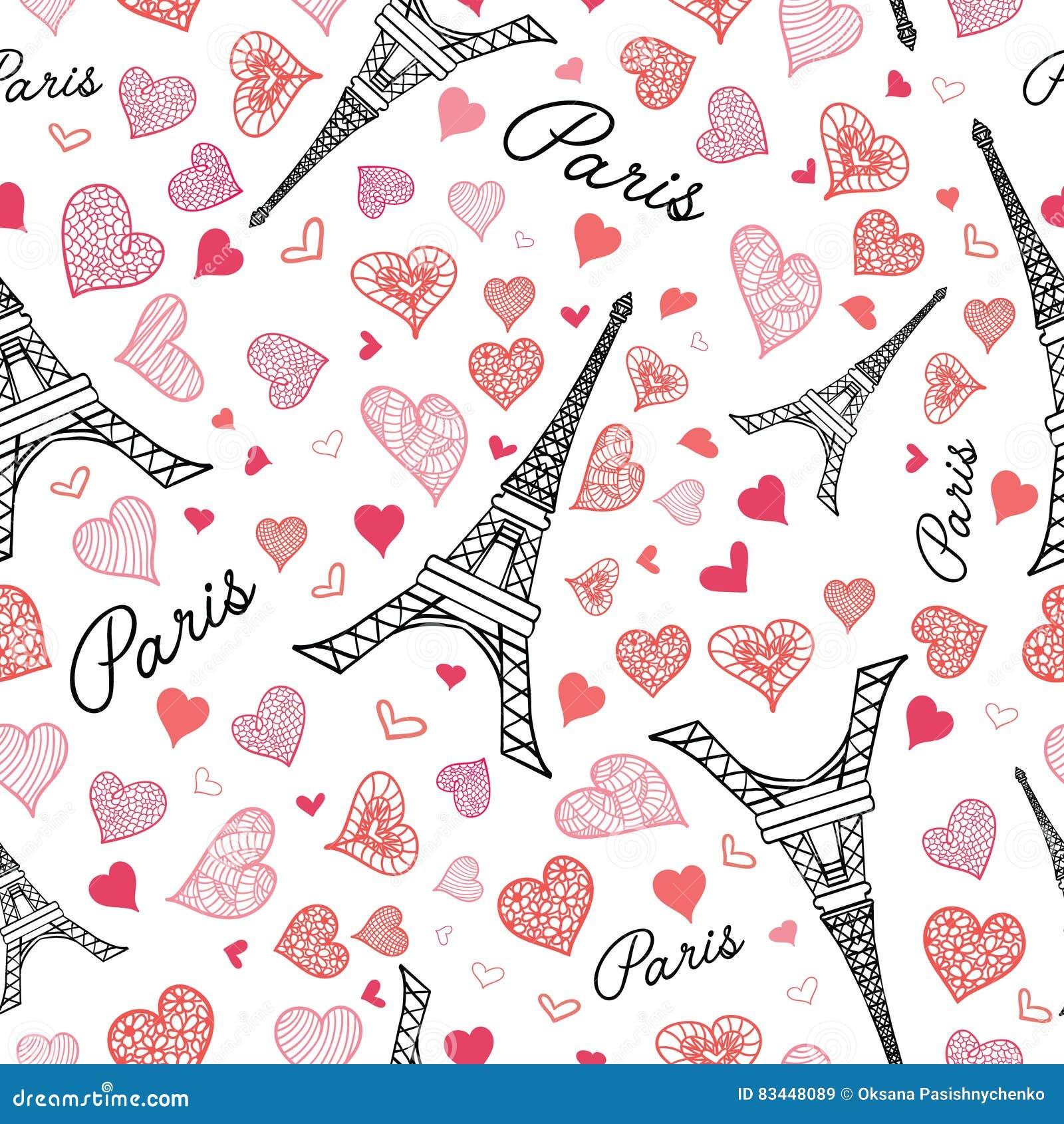 As Creation Pink Paris Pattern Eiffel Tower Childrens: Vector Eifel Tower Paris Seamless Repeat Pattern Bursting