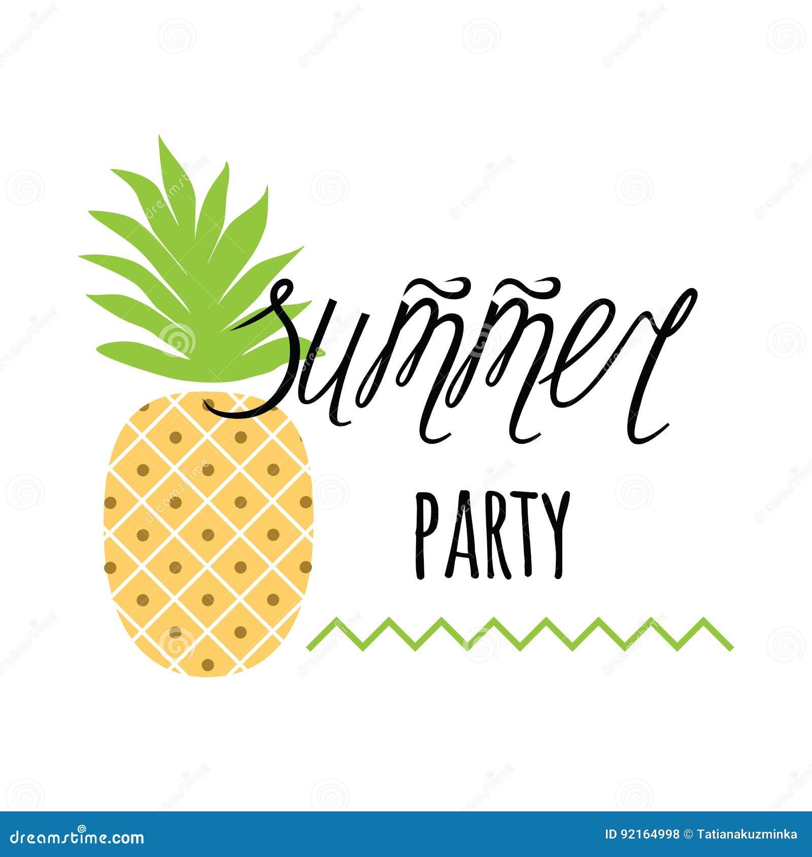 Vector Einladungsschablone Mit Ananas, Text ` Sommerfest ` Auf Weiß ...